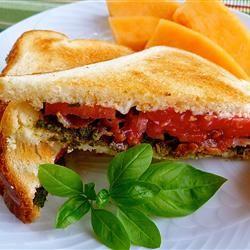 Bacon, Basil Pesto, and Tomato Sandwich lutzflcat