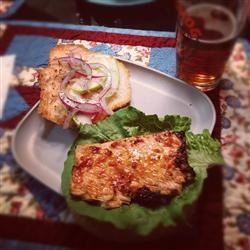 Grilled Salmon Sandwich with Green Apple Slaw bandy