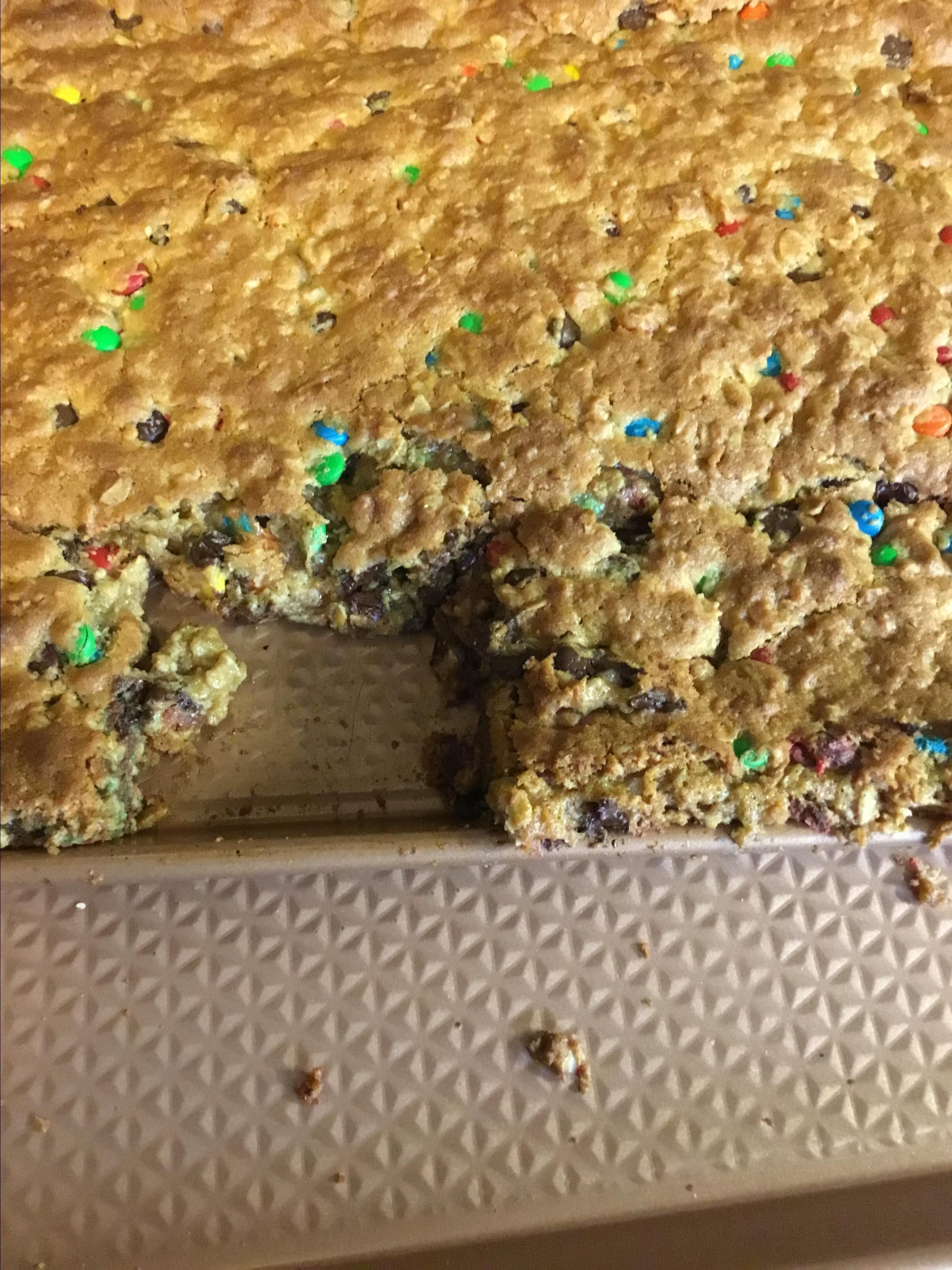 Peanut Butter and Chocolate Monster Cookie Bars Christy Langston Martin