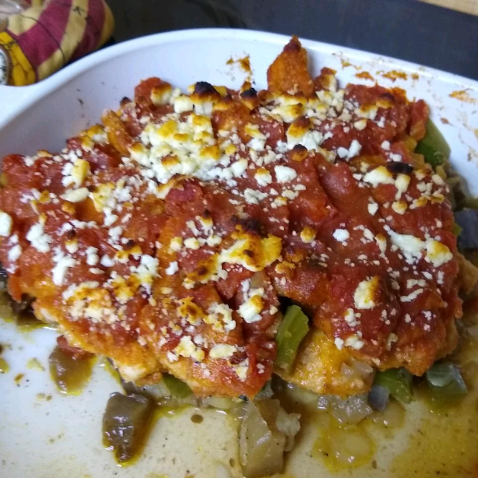 Mediterranean Chicken Medley with Eggplant and Feta txcokergal