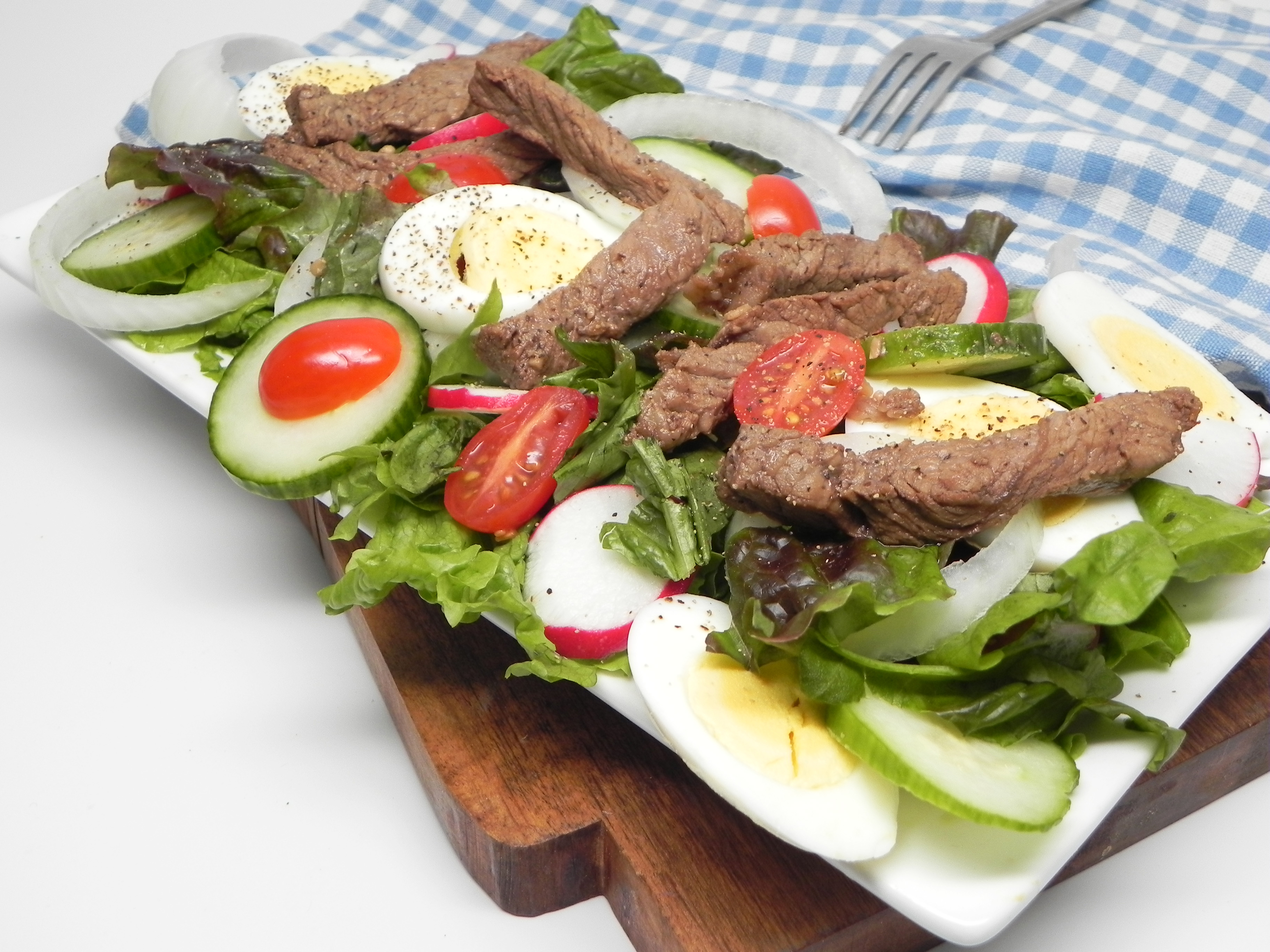 Layered Beef Salad with Warm Dressing