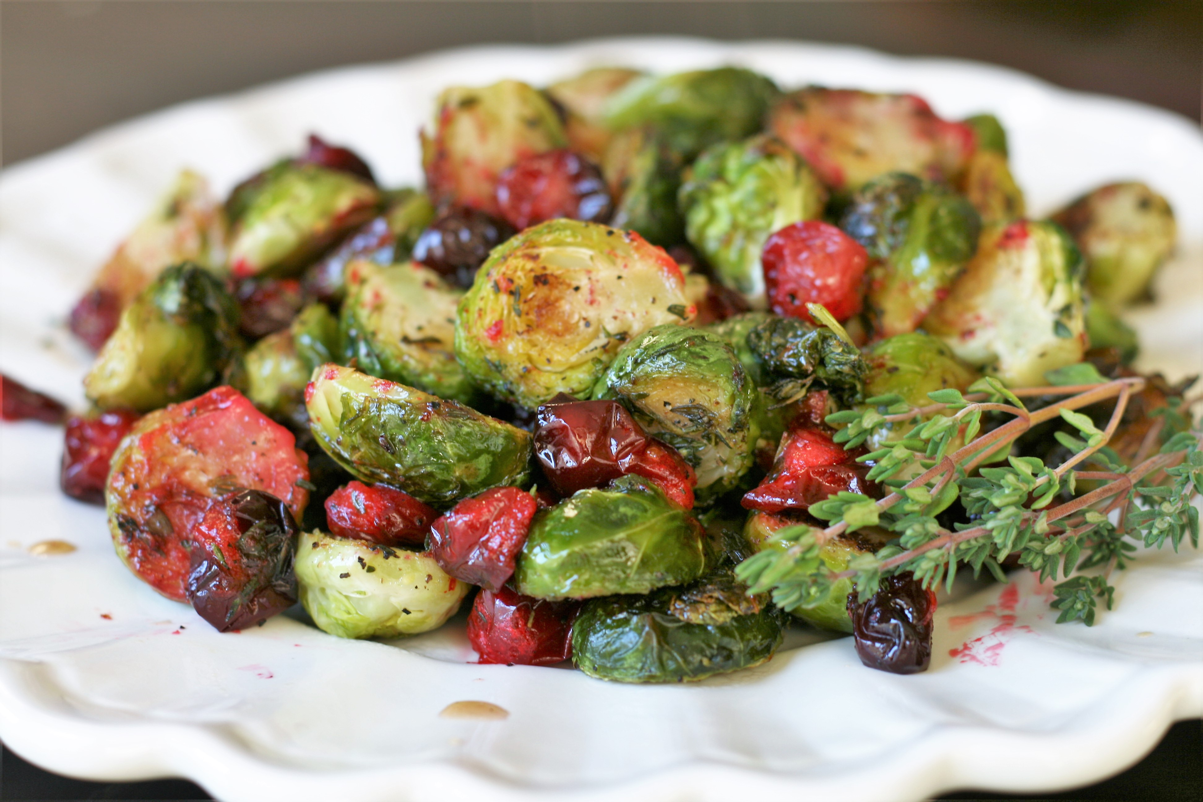 Thyme-Roasted Brussels Sprouts with Fresh Cranberries