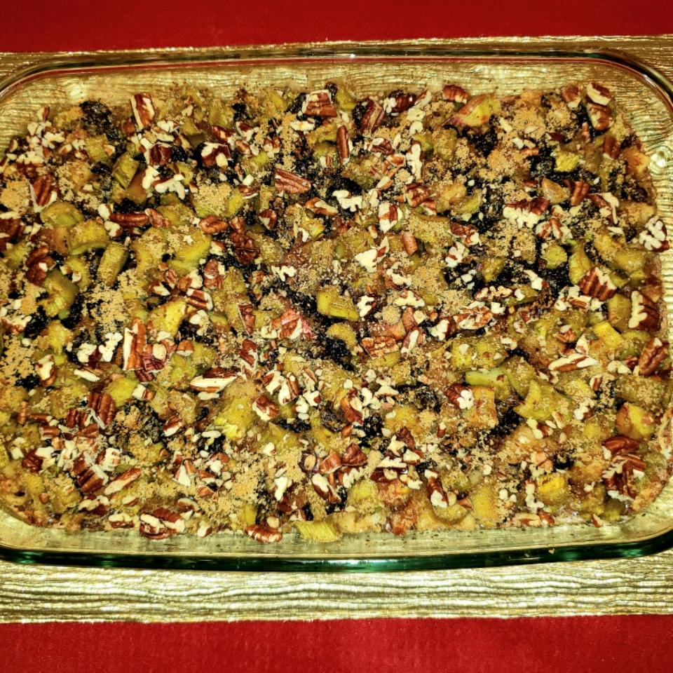 Fresh Rhubarb Bread Pudding Carde3nde
