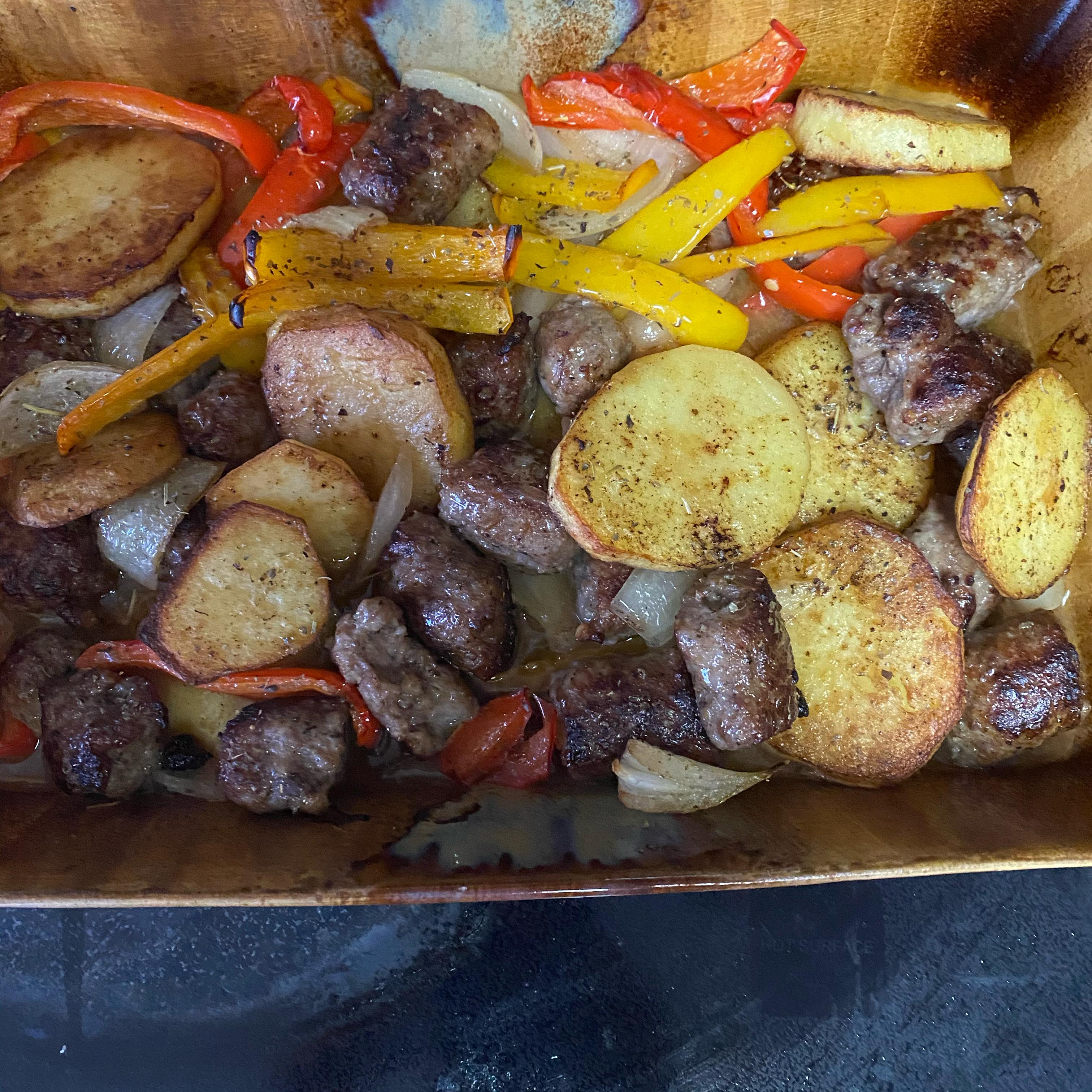 Sausage, Peppers, Onions, and Potato Bake