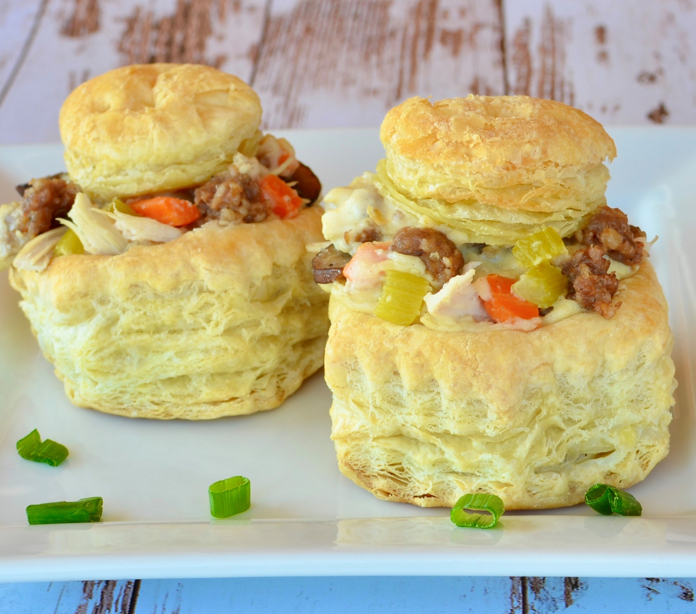 Sausage and Chicken Puff Pastry Shells