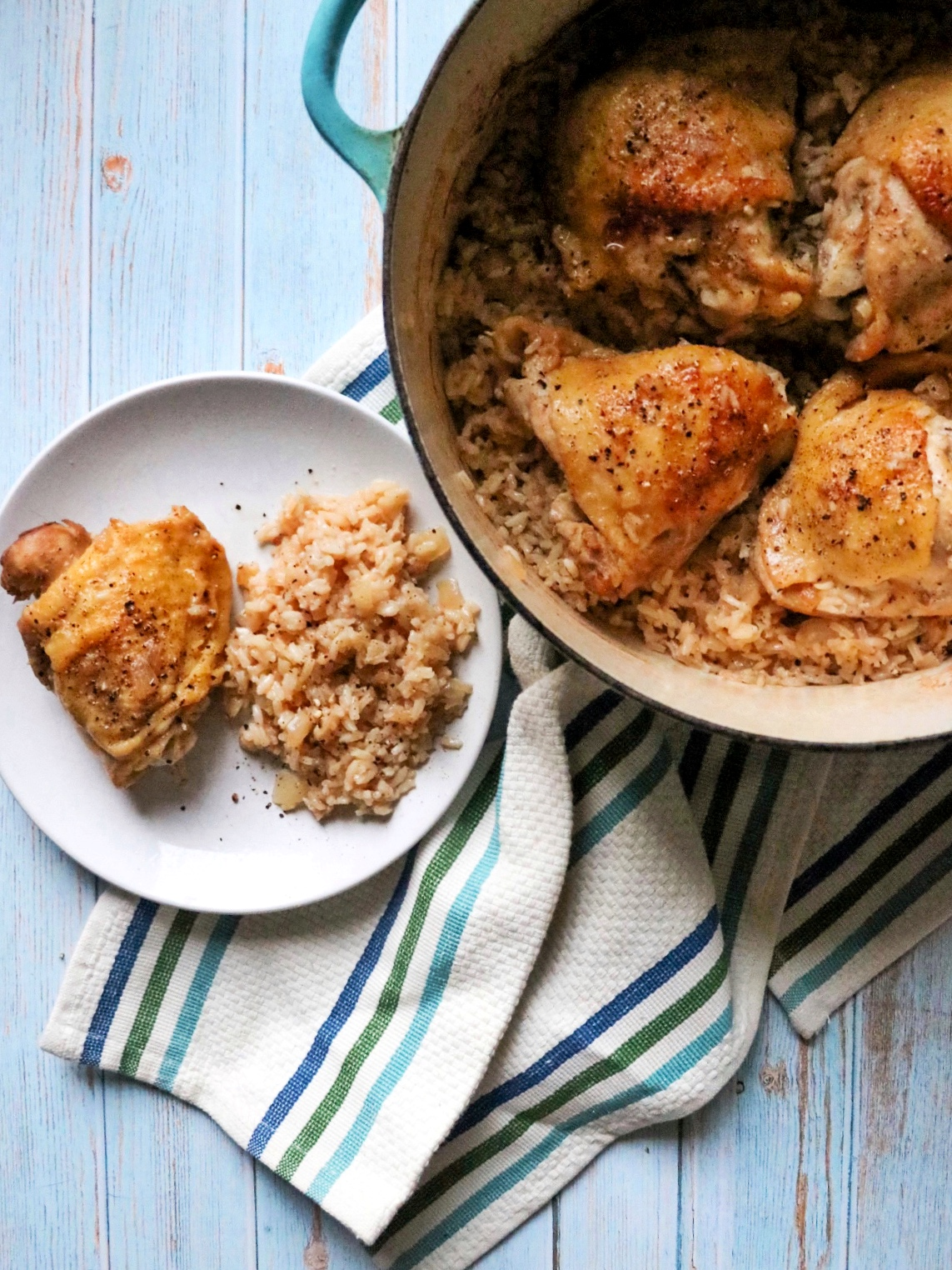 Baked Lemon-Pepper Chicken Thighs and Rice