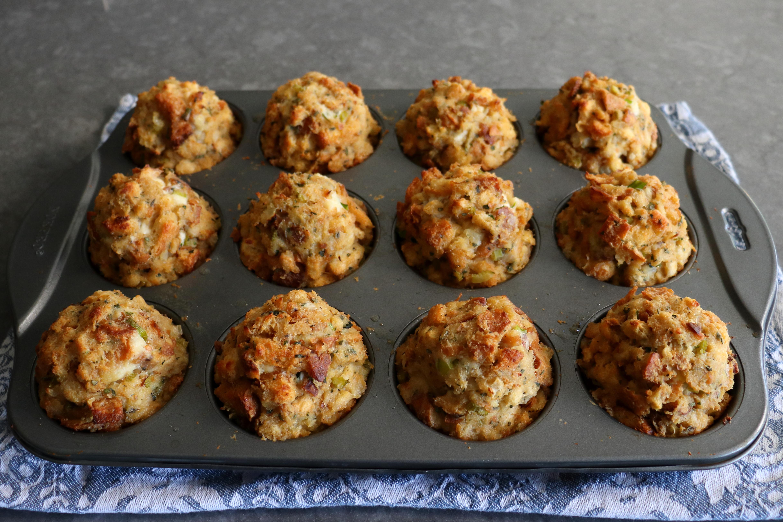 Gravy-Stuffed Stuffing Muffins