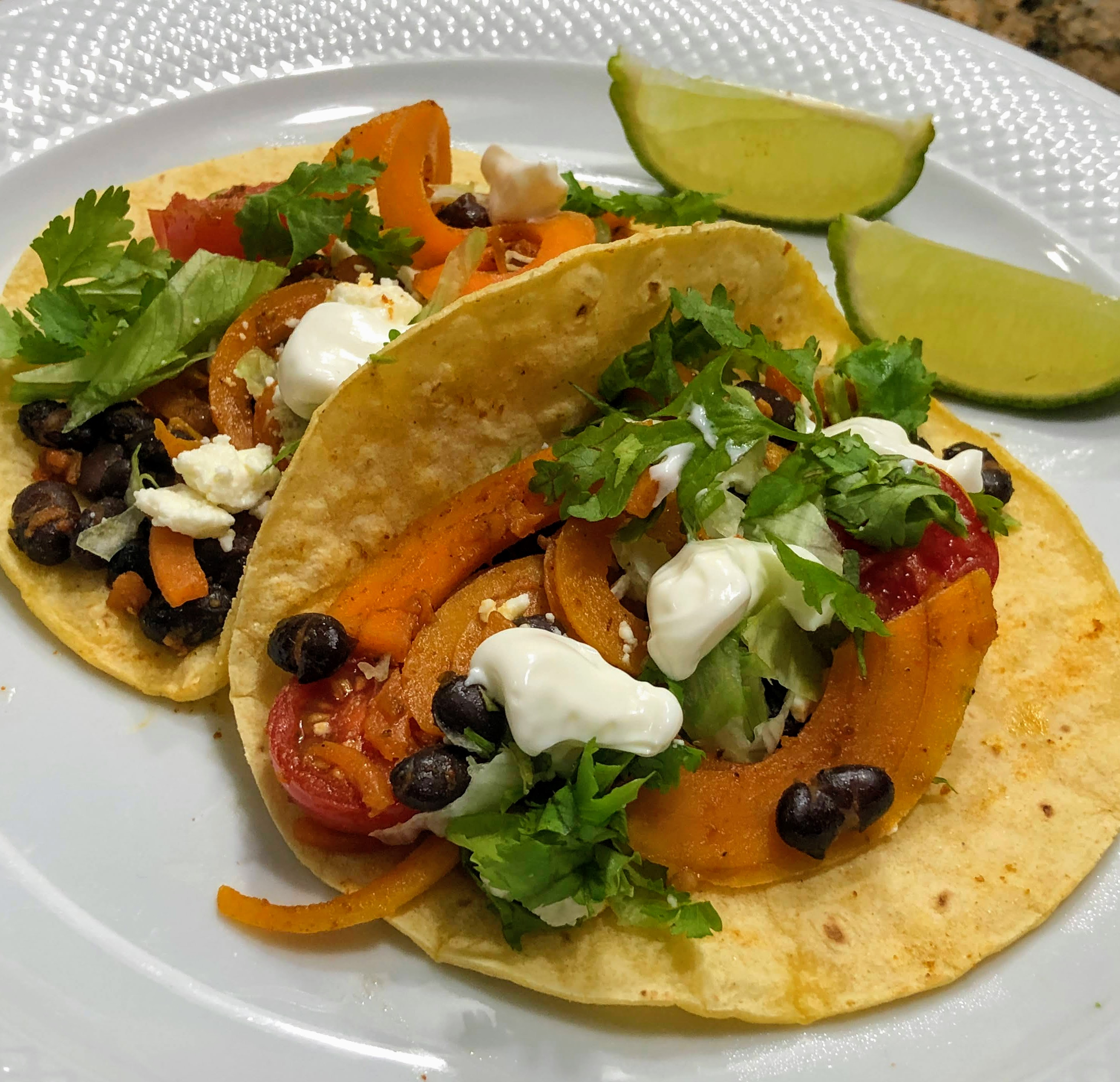Butternut Squash Spirals and Black Bean Tacos