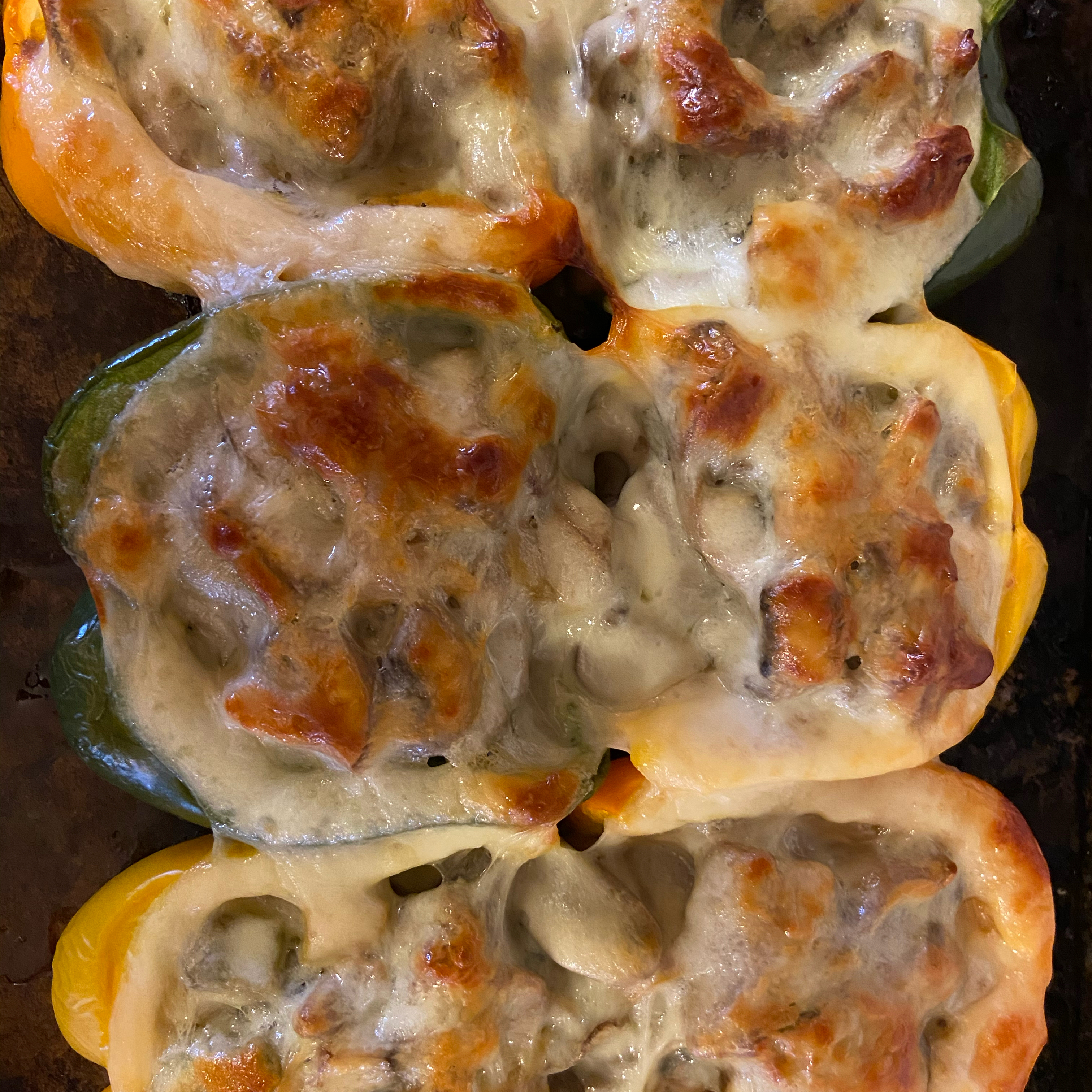 Philly Cheesesteak Stuffed Peppers Pam