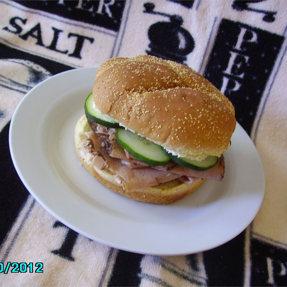 Dill Cream Cheese, Roast Beef and Cucumber Sandwiches