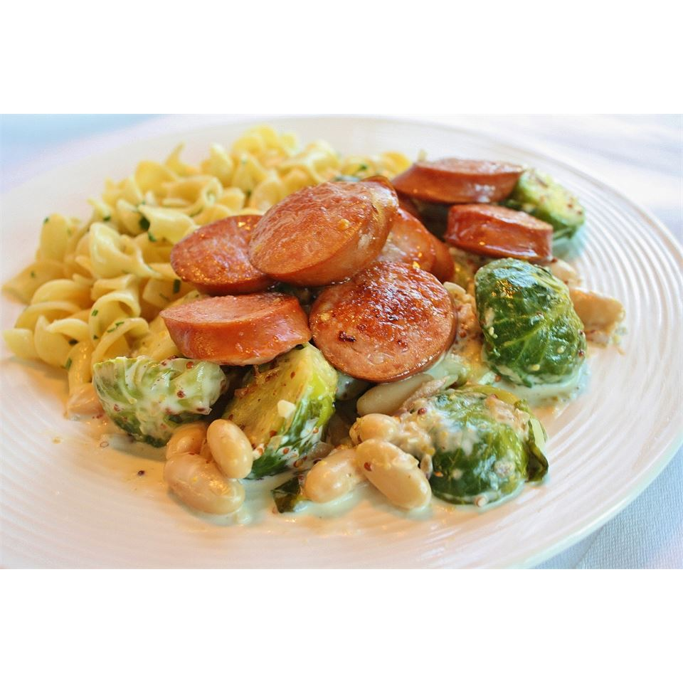 Kielbasa with Brussels Sprouts in Mustard Cream Sauce naples34102