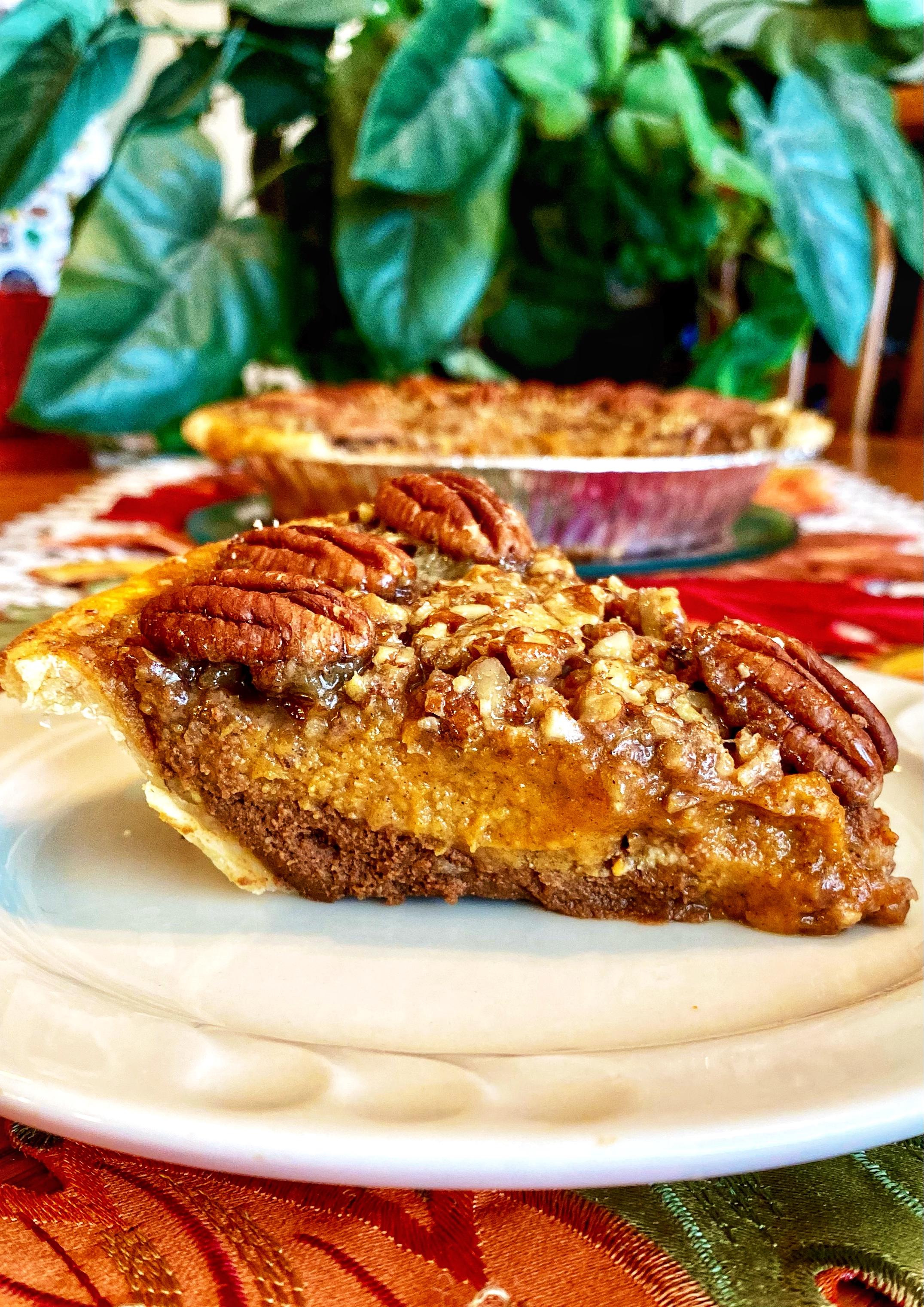 Chocolate Pumpkin Pecan Pie
