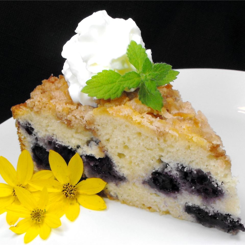 Toasted Coconut-Topped Blueberry Cake bellepepper