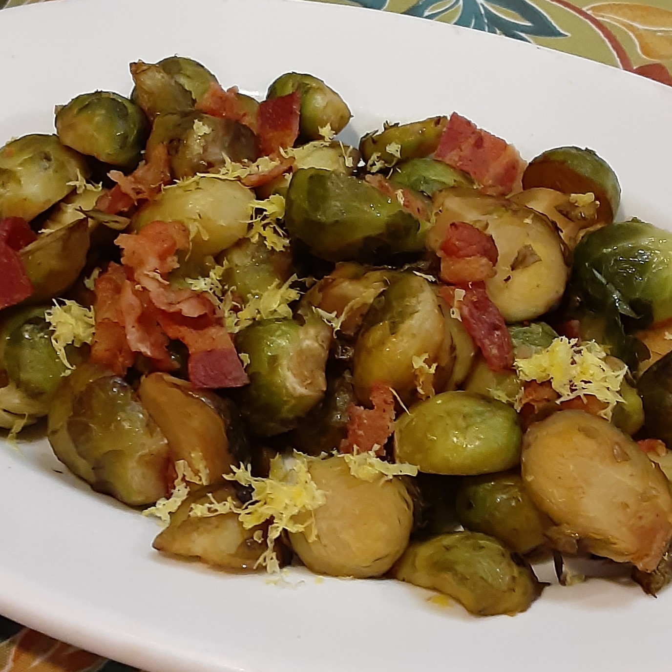 Balsamic Roasted Brussels Sprouts with Bacon Deb C