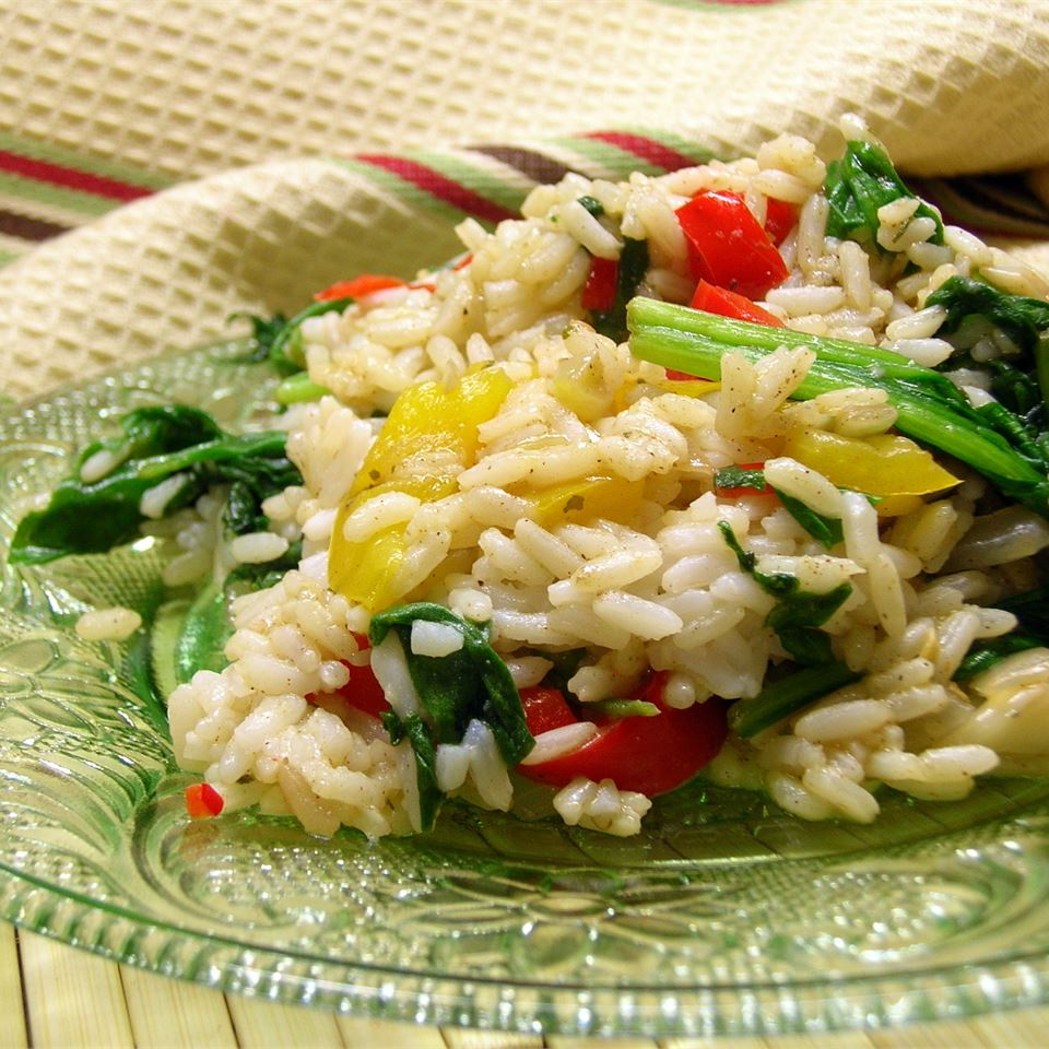 Sunny Pepper Parmesan Rice with Spinach *Sherri*