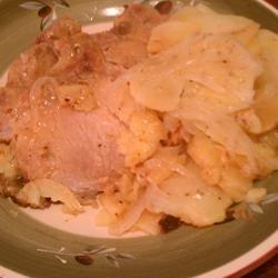 Skillet Pork Chops with Potatoes and Onion ~TxCin~ILove2Ck