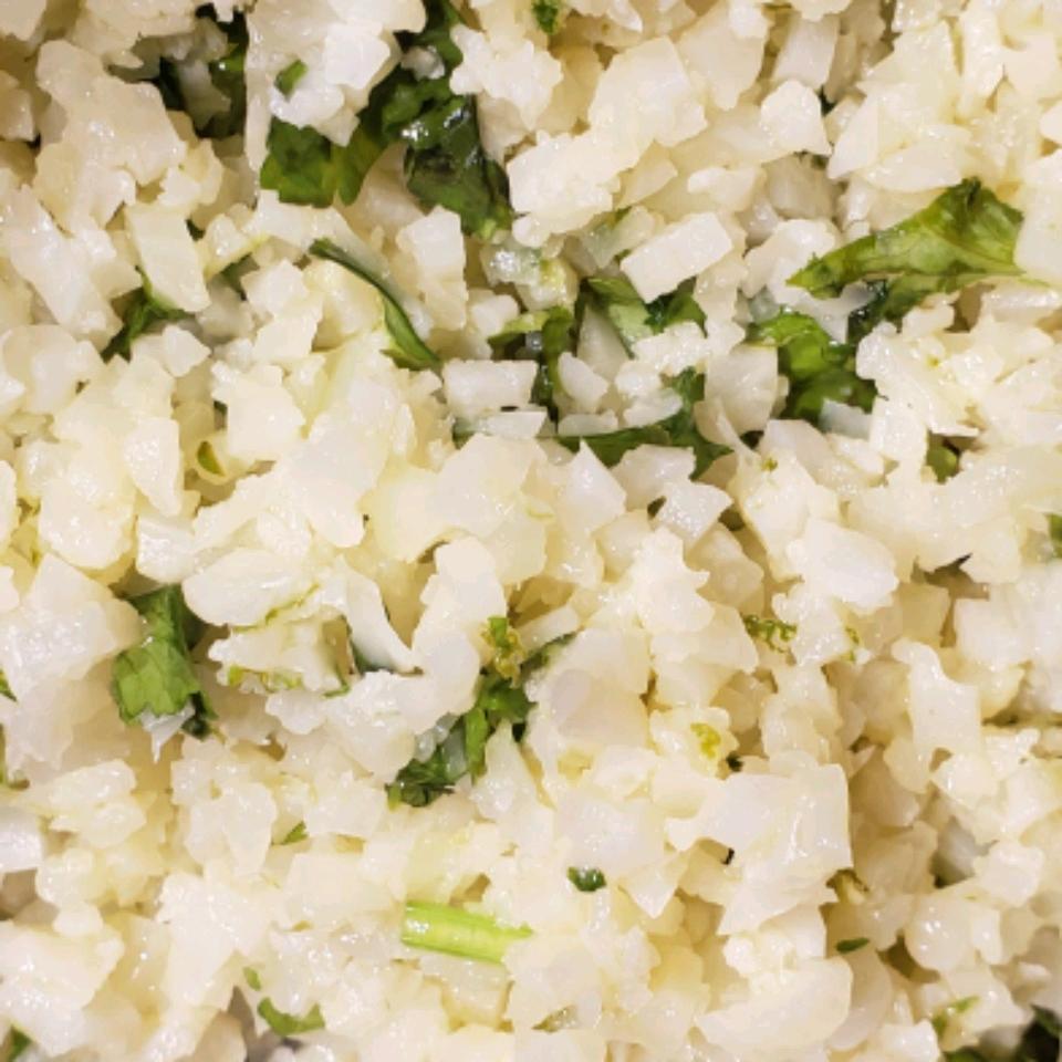"Lime Cilantro Cauliflower ""Rice"""