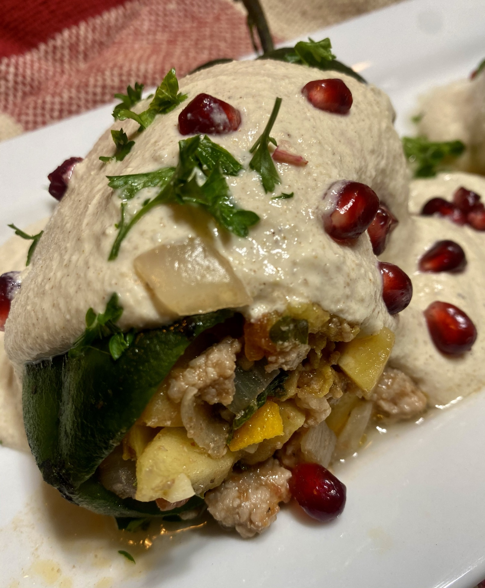 Chiles en Nogada (Mexican Stuffed Poblano Peppers in Walnut Sauce) Brent
