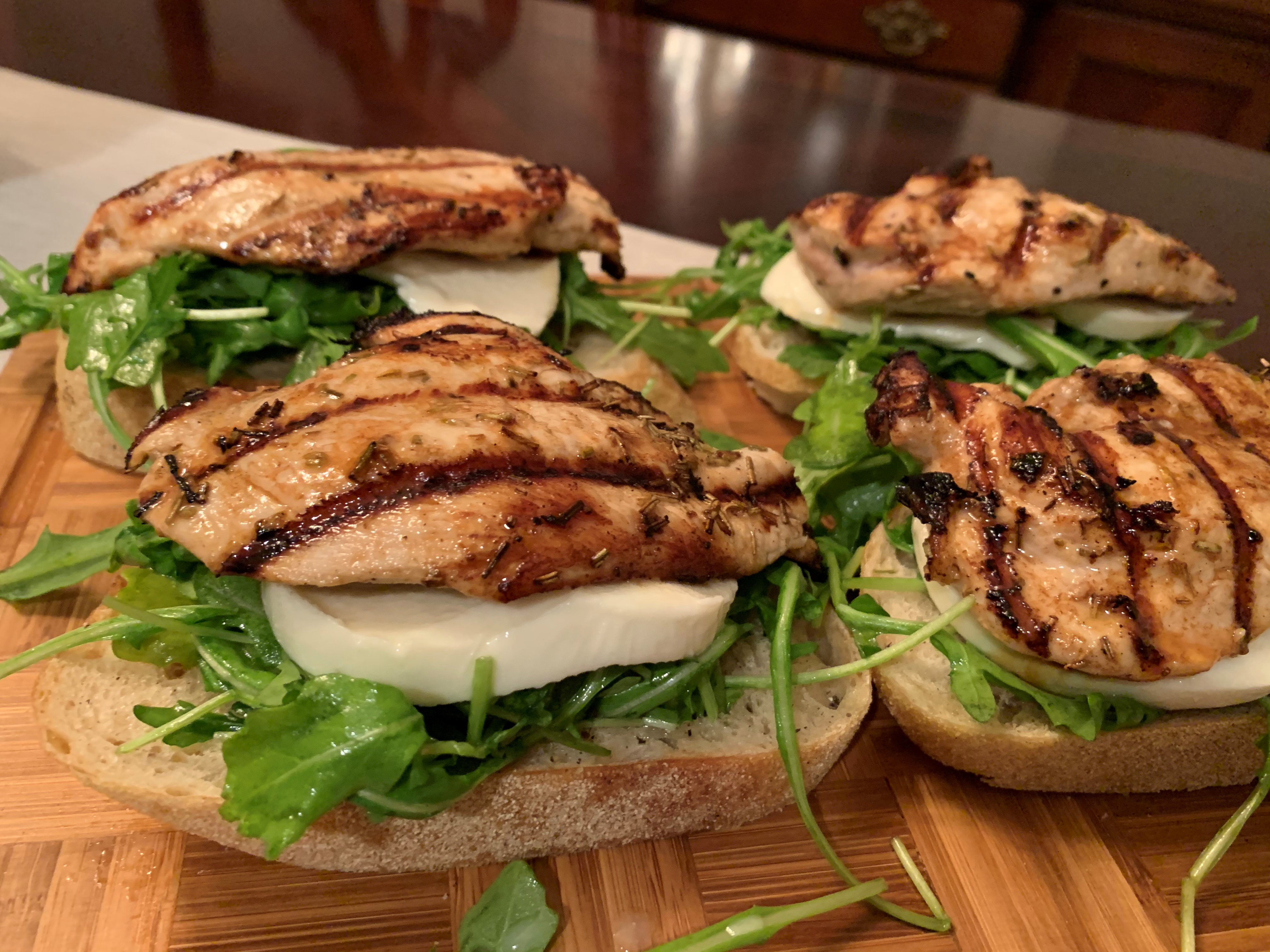 Open-Faced Grilled Tuscan Chicken Sandwiches with Fresh Mozzarella FrackFamily5 CA—>CT