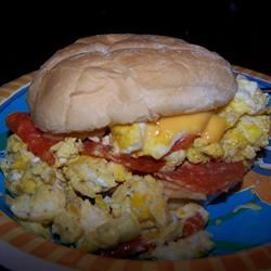 Scrambled Egg and Pepperoni Submarine Sandwich Tripodious