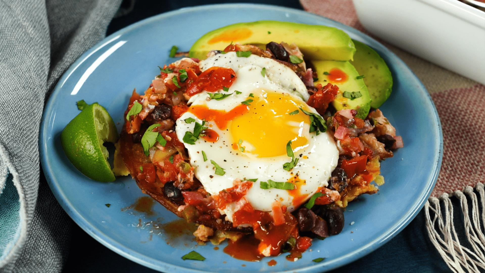 Huevos Rancheros Brunch Casserole with Ham and Cheese