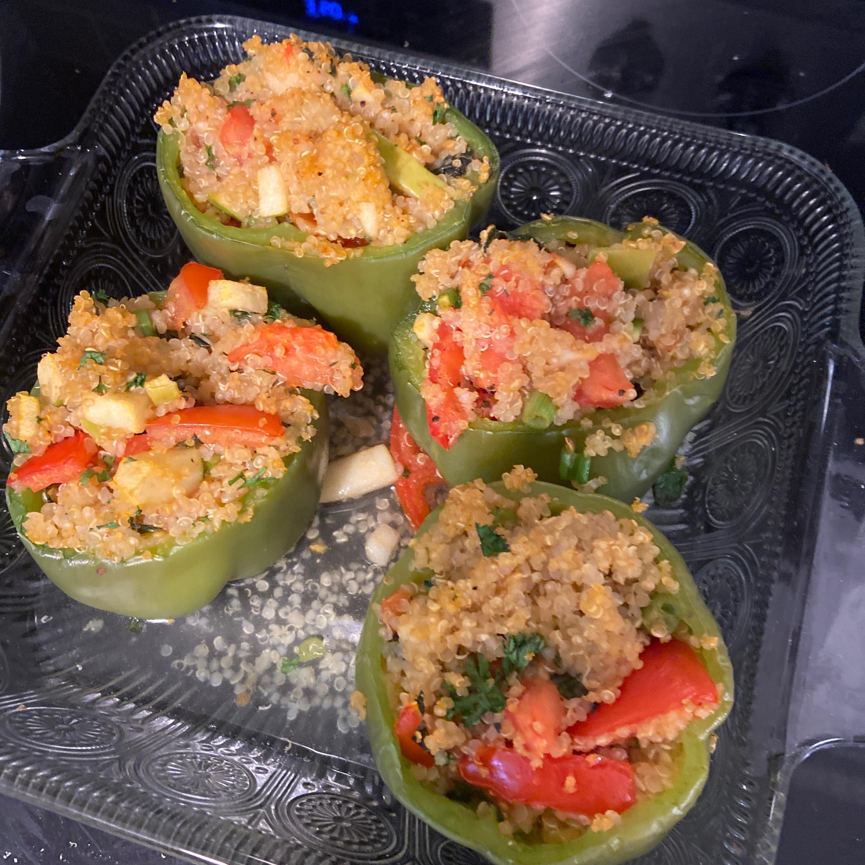 Vegetarian Stuffed Red Bell Peppers