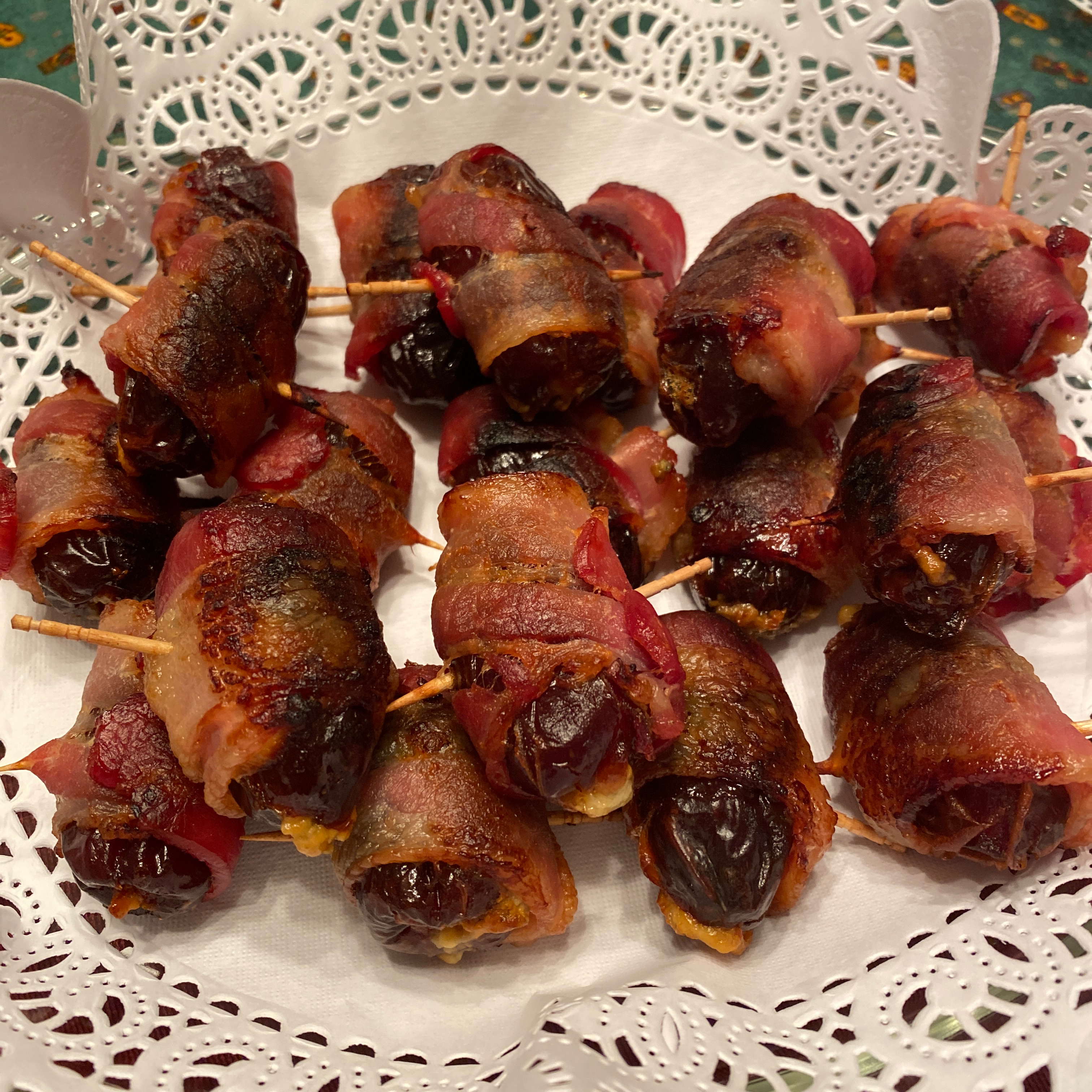 Bacon Wrapped Dates Stuffed with Blue Cheese