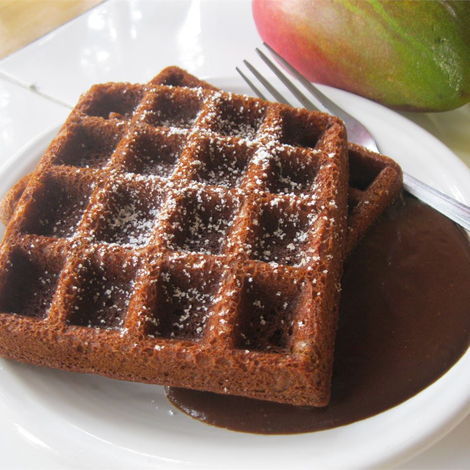 Gingerbread Waffles with Hot Chocolate Sauce ezmars