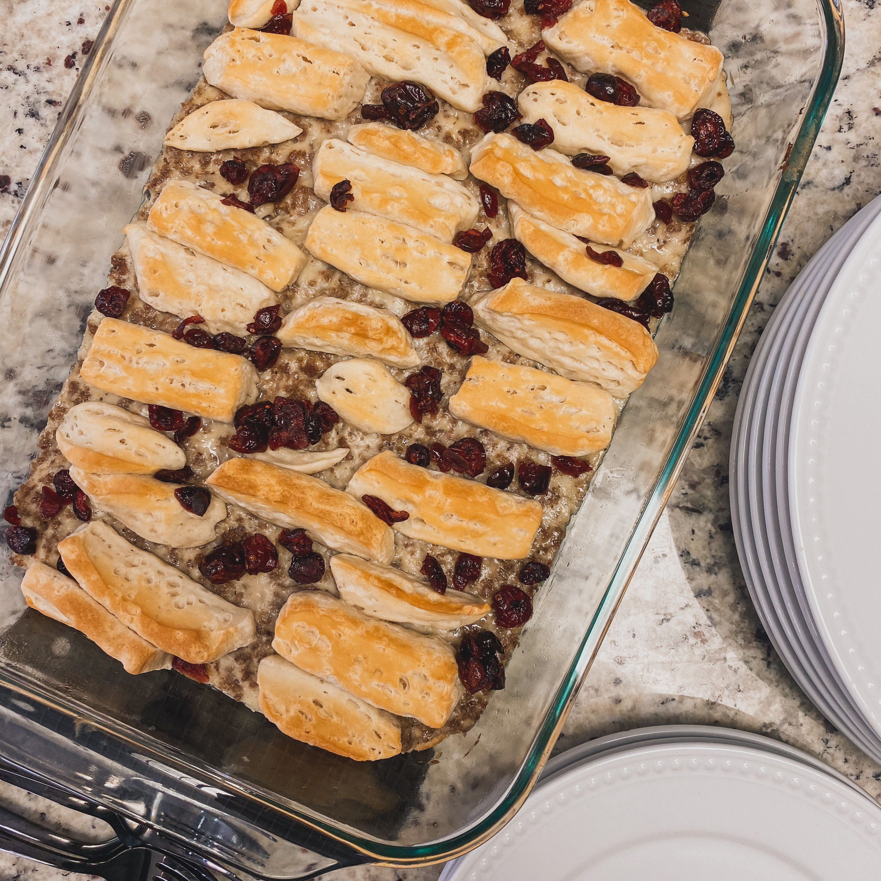 Sausage, Cranberry, and Biscuit Breakfast Bake StevenMSal