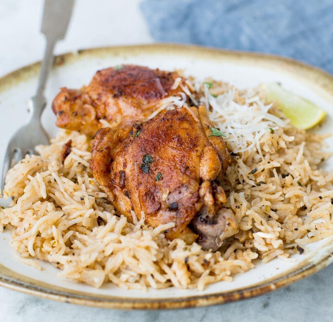 Instant Pot® Garlic-Herb Chicken Thighs and Rice