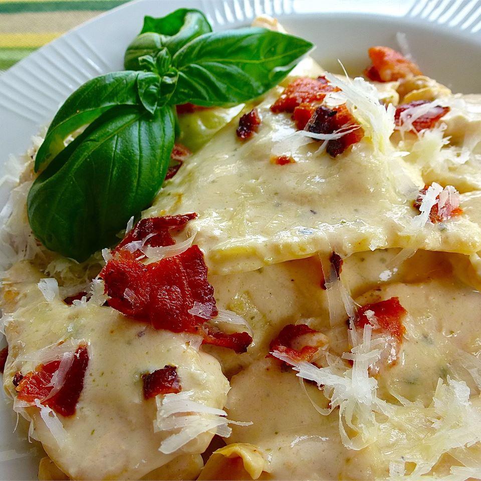 Basil Chicken Ravioli Carbonara