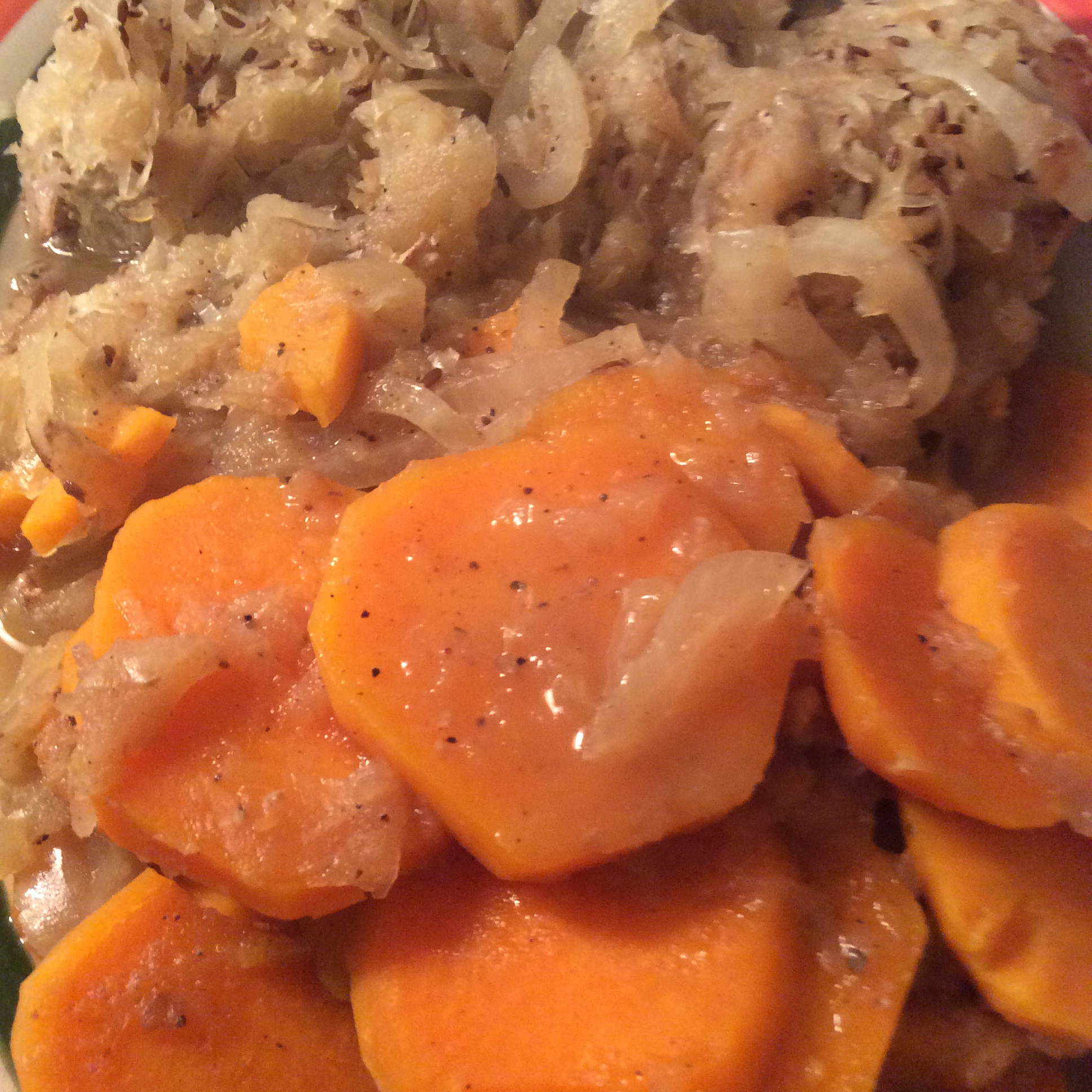 Pork Chops with Apples, Sweet Potatoes, and Sauerkraut Pat-Perry