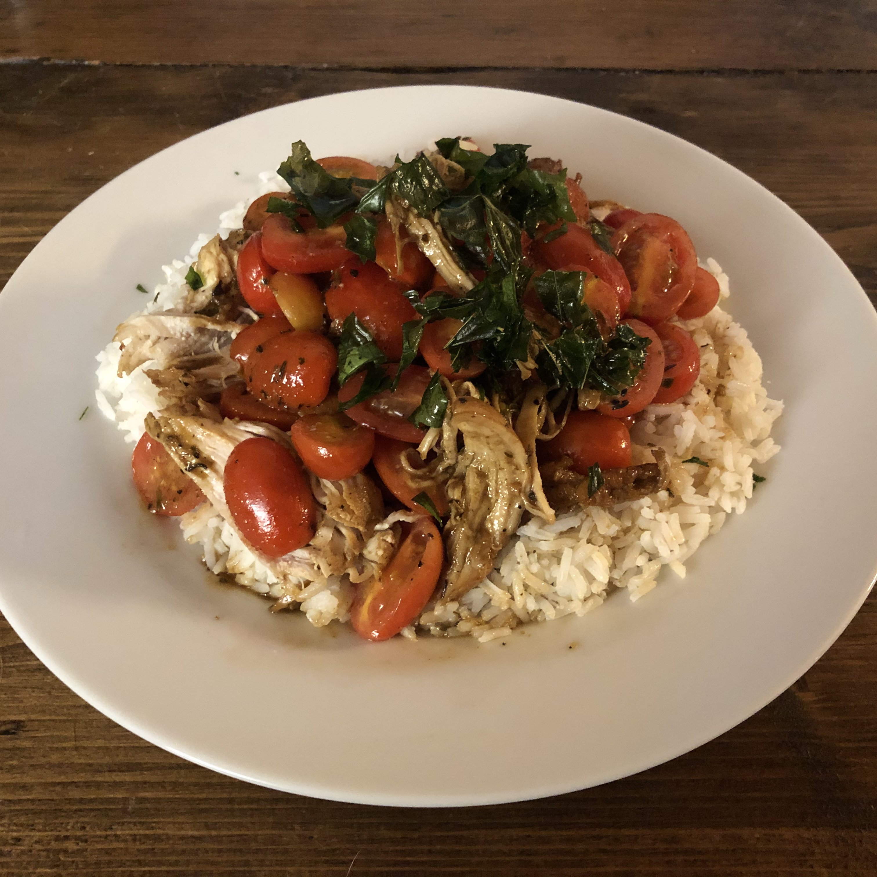 Chicken with Grape Tomatoes and Fried Basil William Vesely