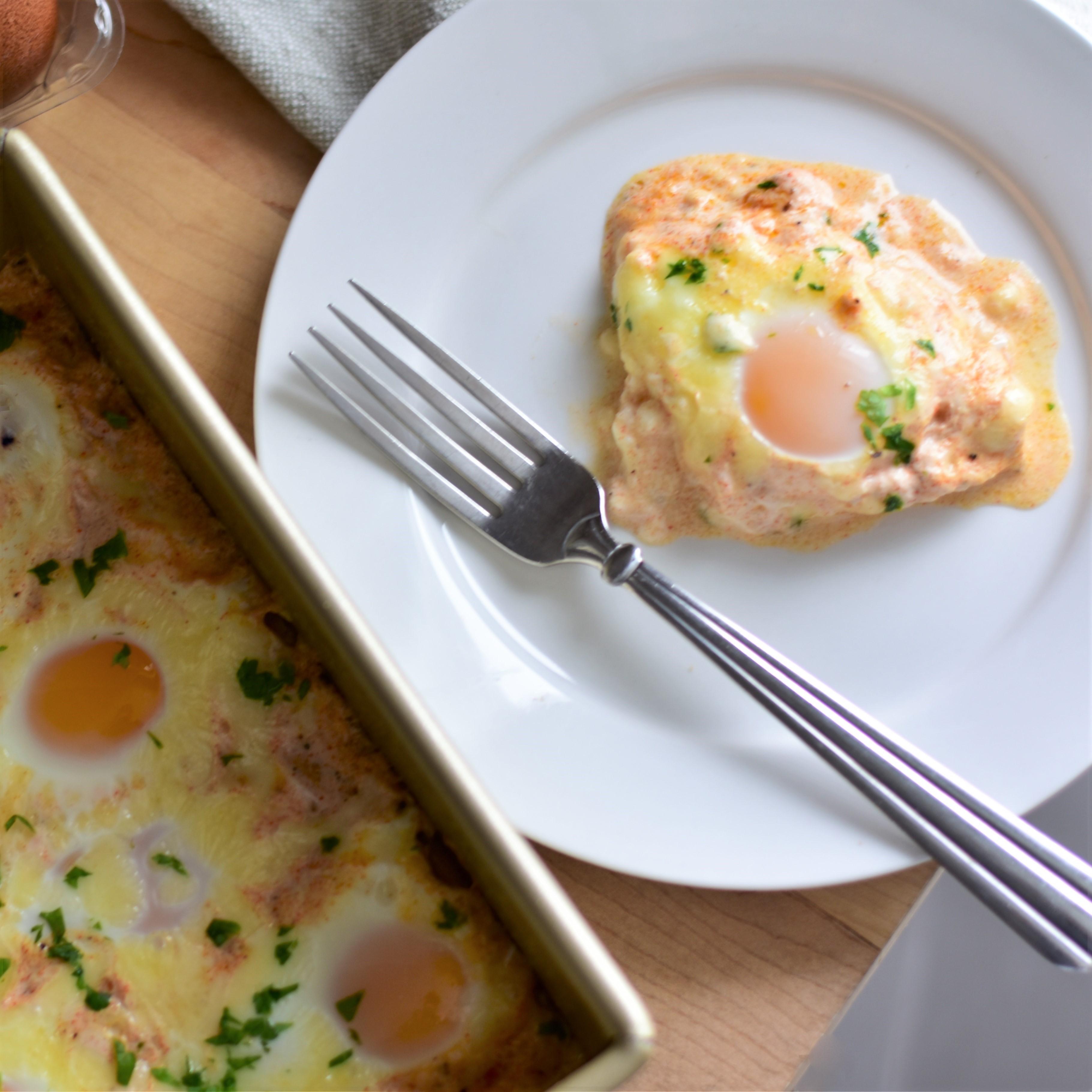 Easy Cheesy Baked Eggs
