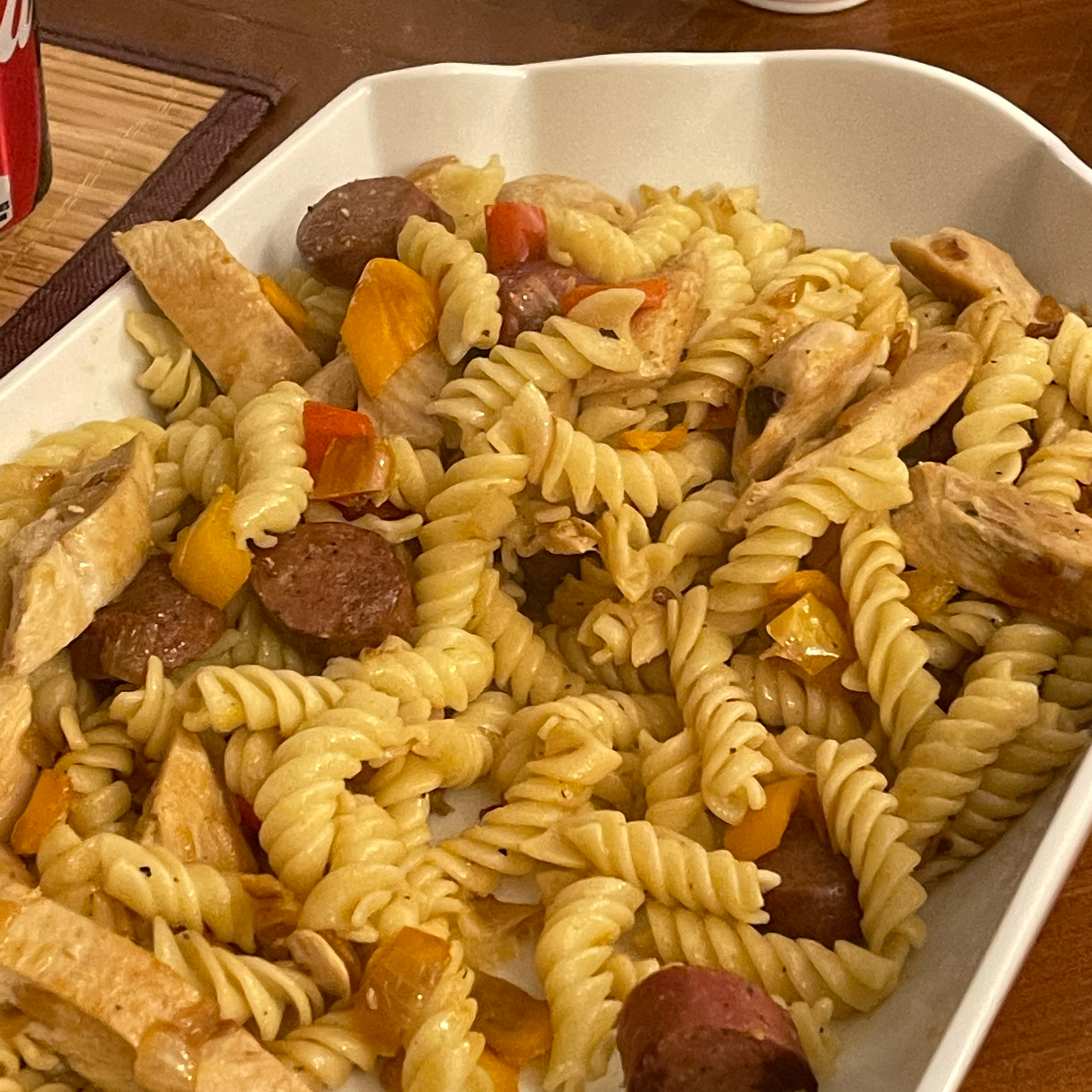 Penne, Peppers, and Chicken-Apple Sausage Saute