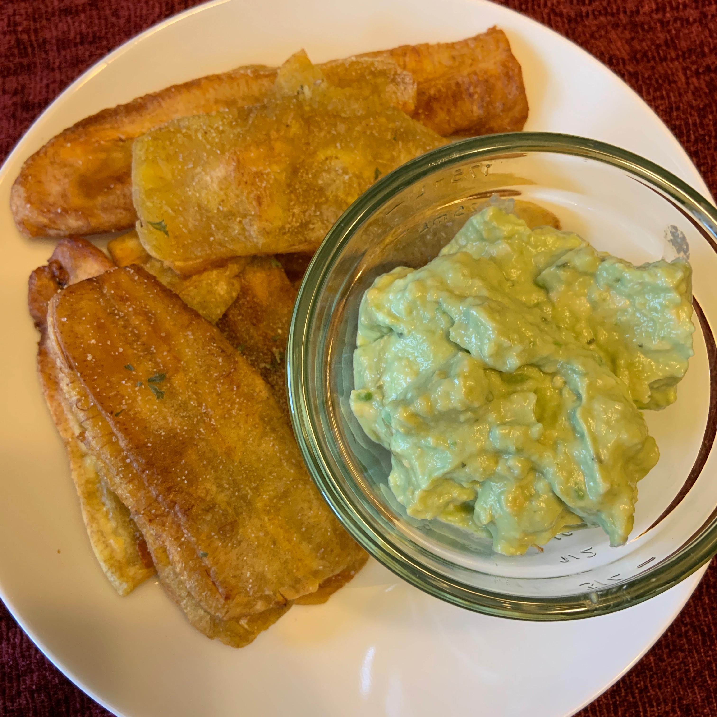 Fried Plantains With Avocado Dip Rebecca