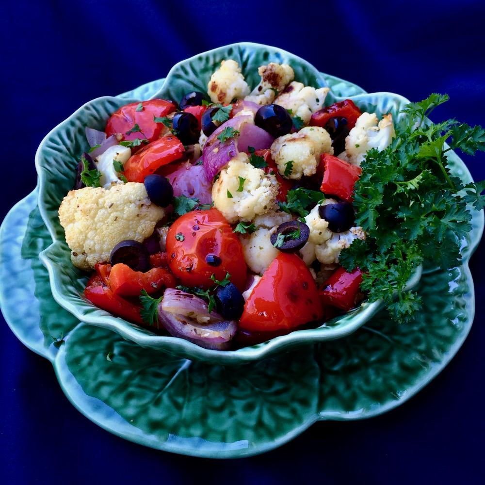 Mediterranean Roasted Cauliflower with Olives