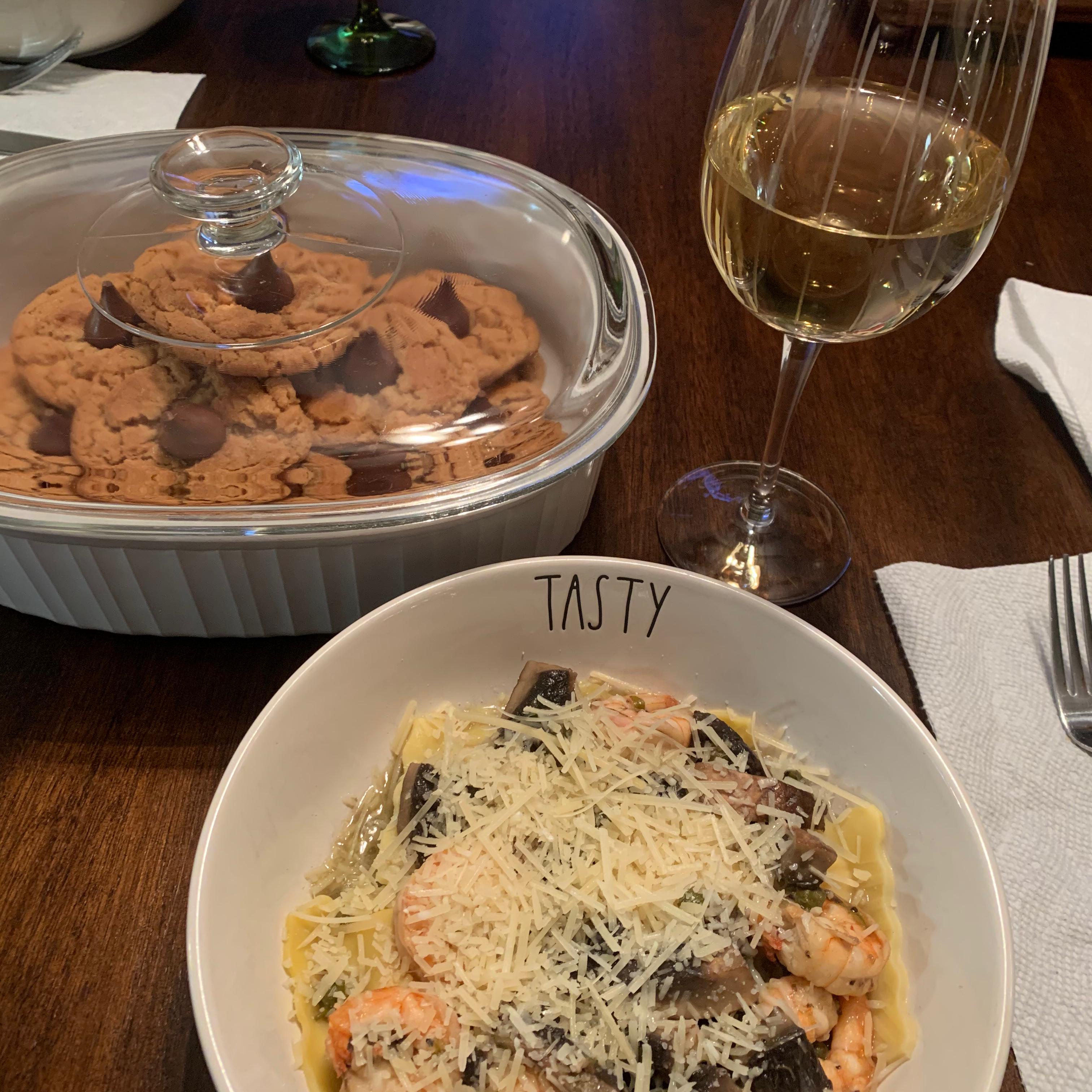Portobello Mushroom Ravioli with Prawns Julia Foco