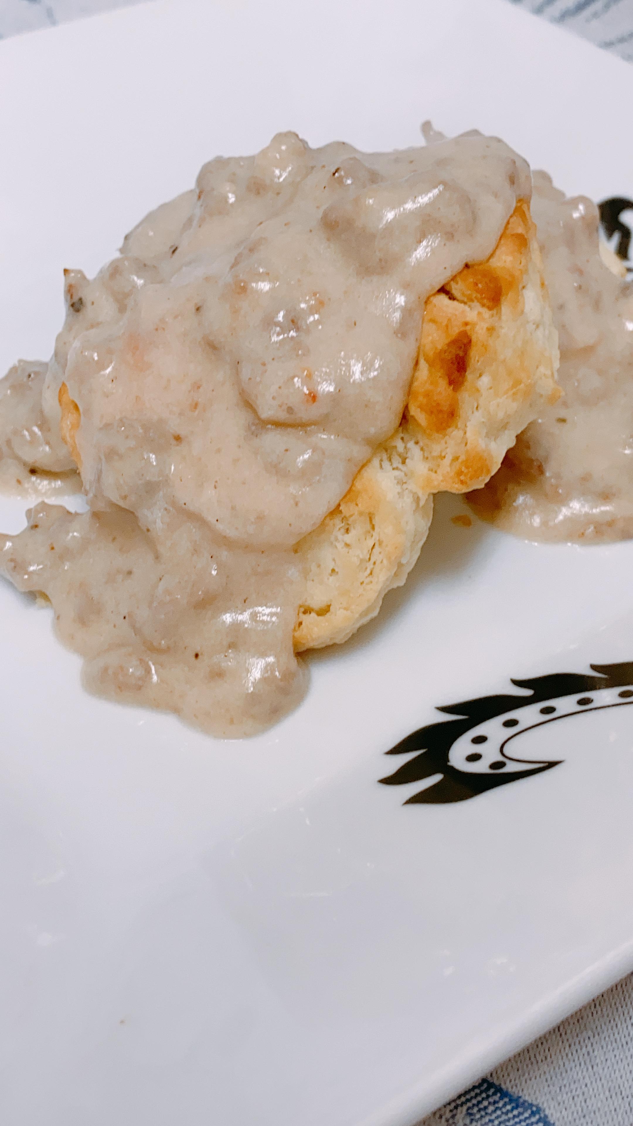 Biscuits with Herb Breakfast Sausage Gravy