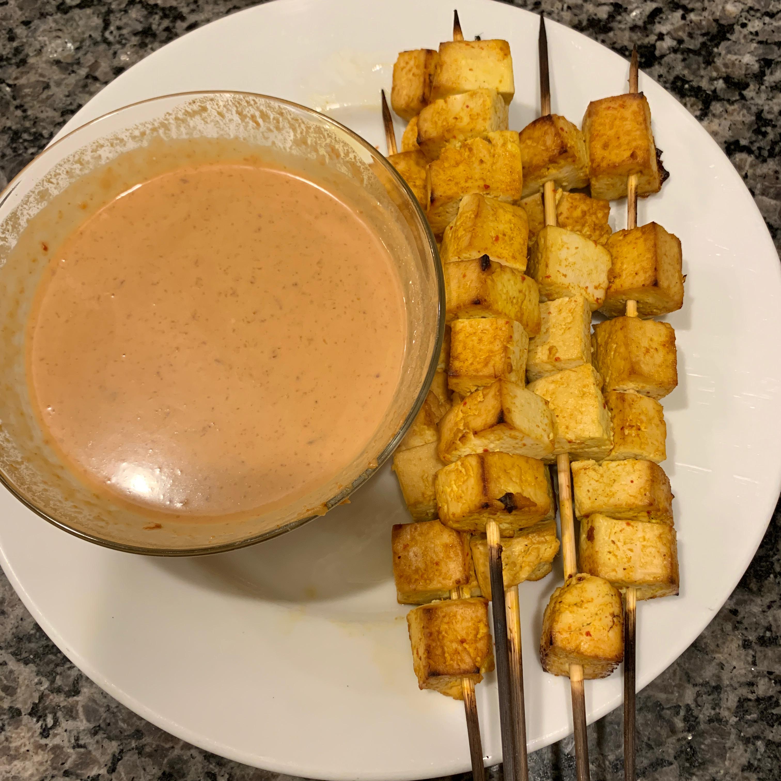 Tofu Satay with Peanut Sauce natalie