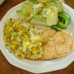 Grilled Chicken Breast with Cucumber and Pepper Relish FJK