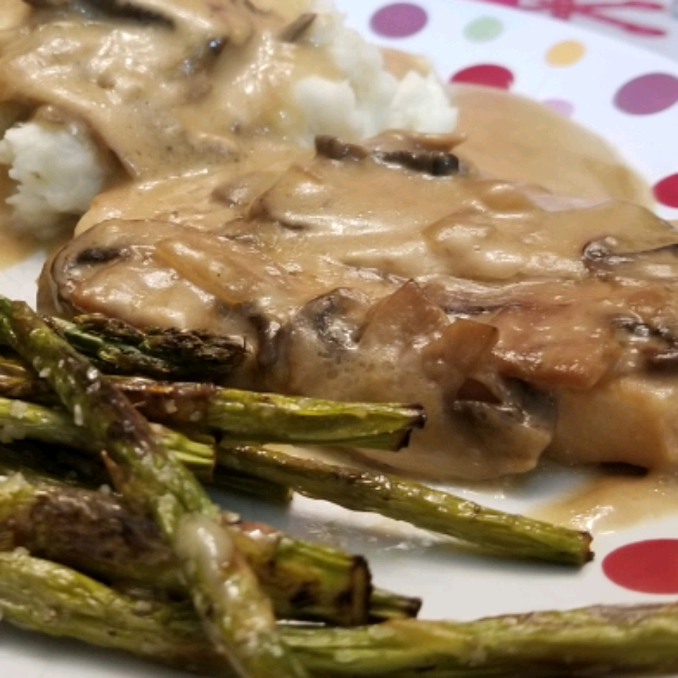 Smothered Pork Chops with Bourbon and Mushrooms
