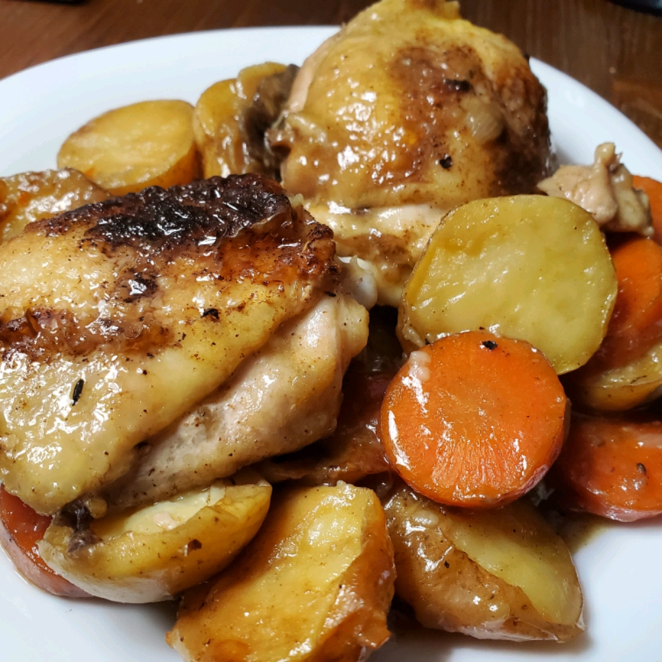 Skillet Chicken Thighs with Carrots and Potatoes