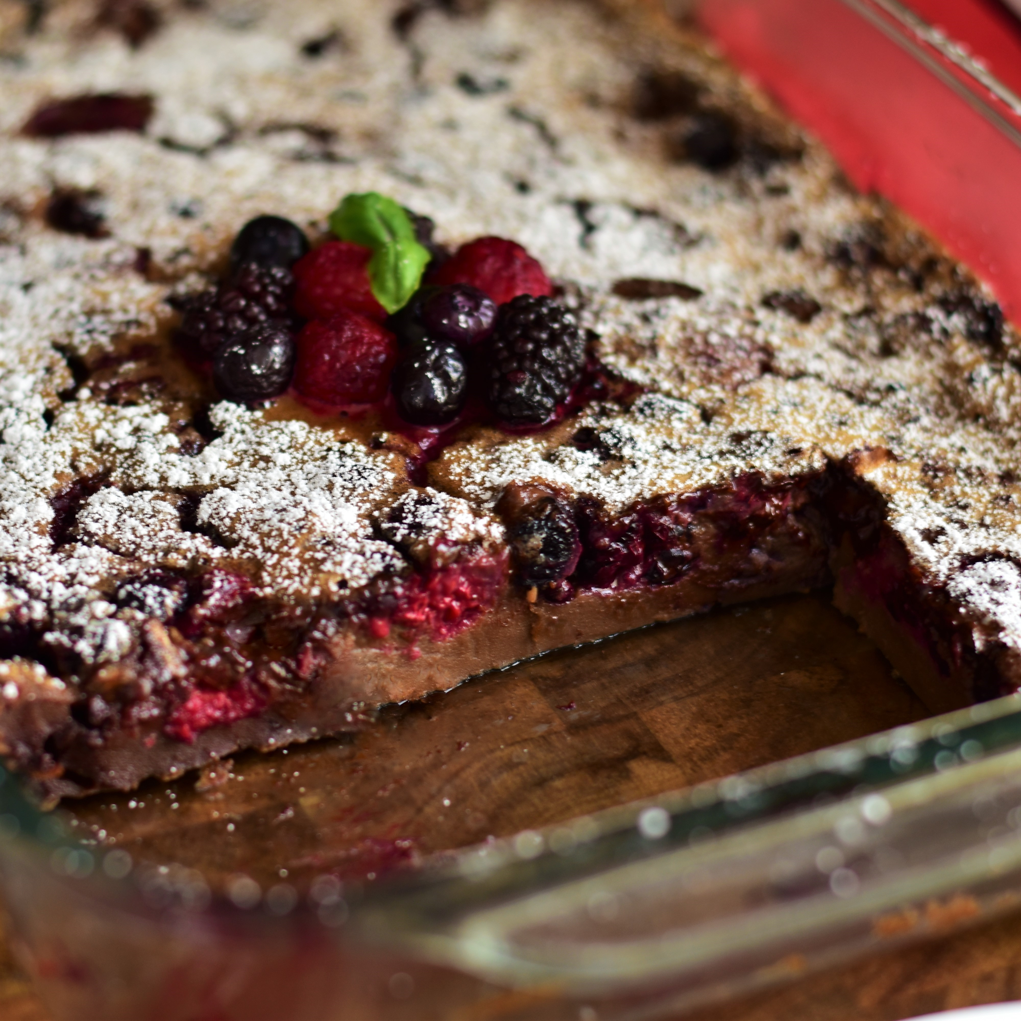 Chocolate-Mixed Berry Baked Custard