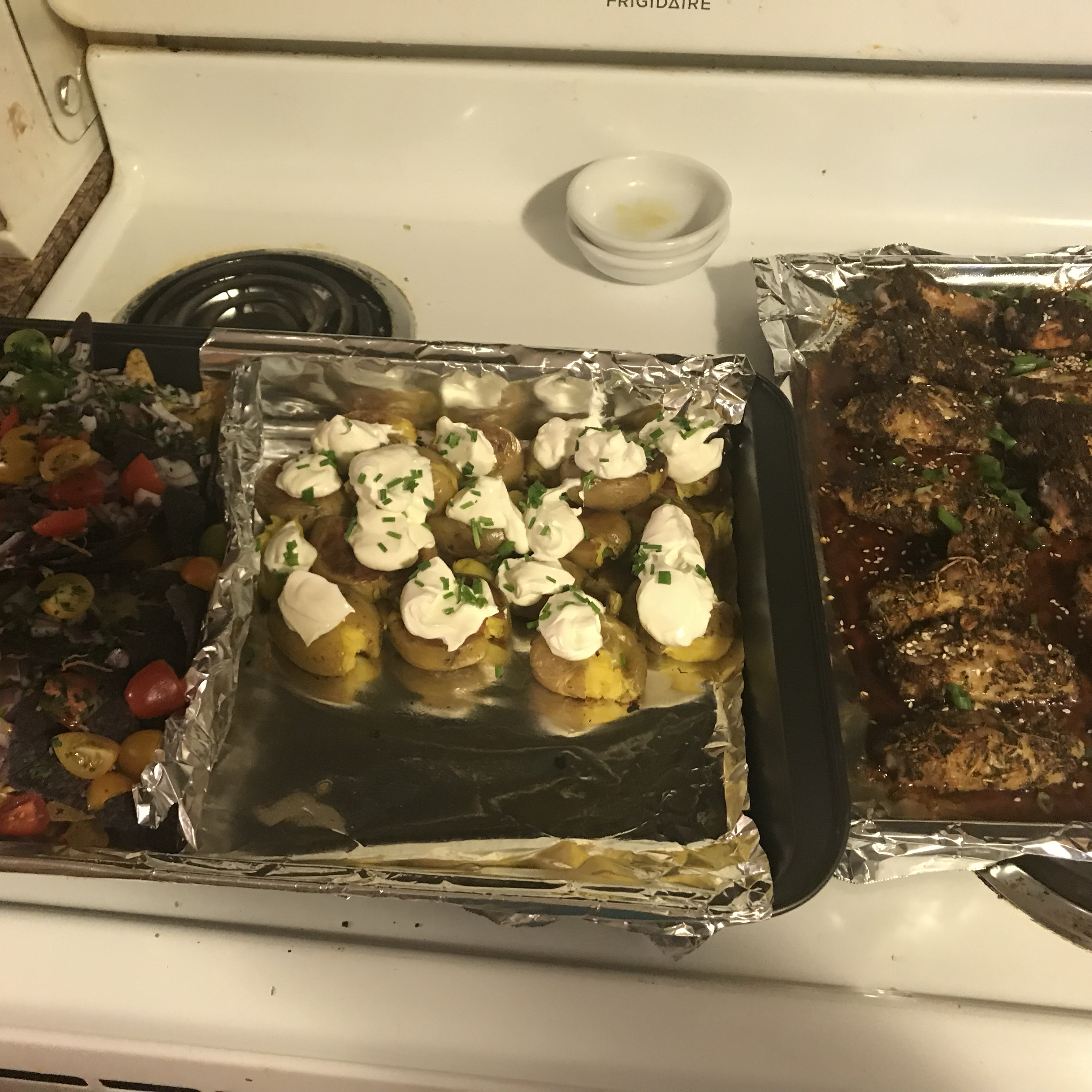 Sheet Pan Nachos, Sticky Sesame Ginger Wings, and Smashed Loaded Potatoes from Reynolds Wrap® Tazz