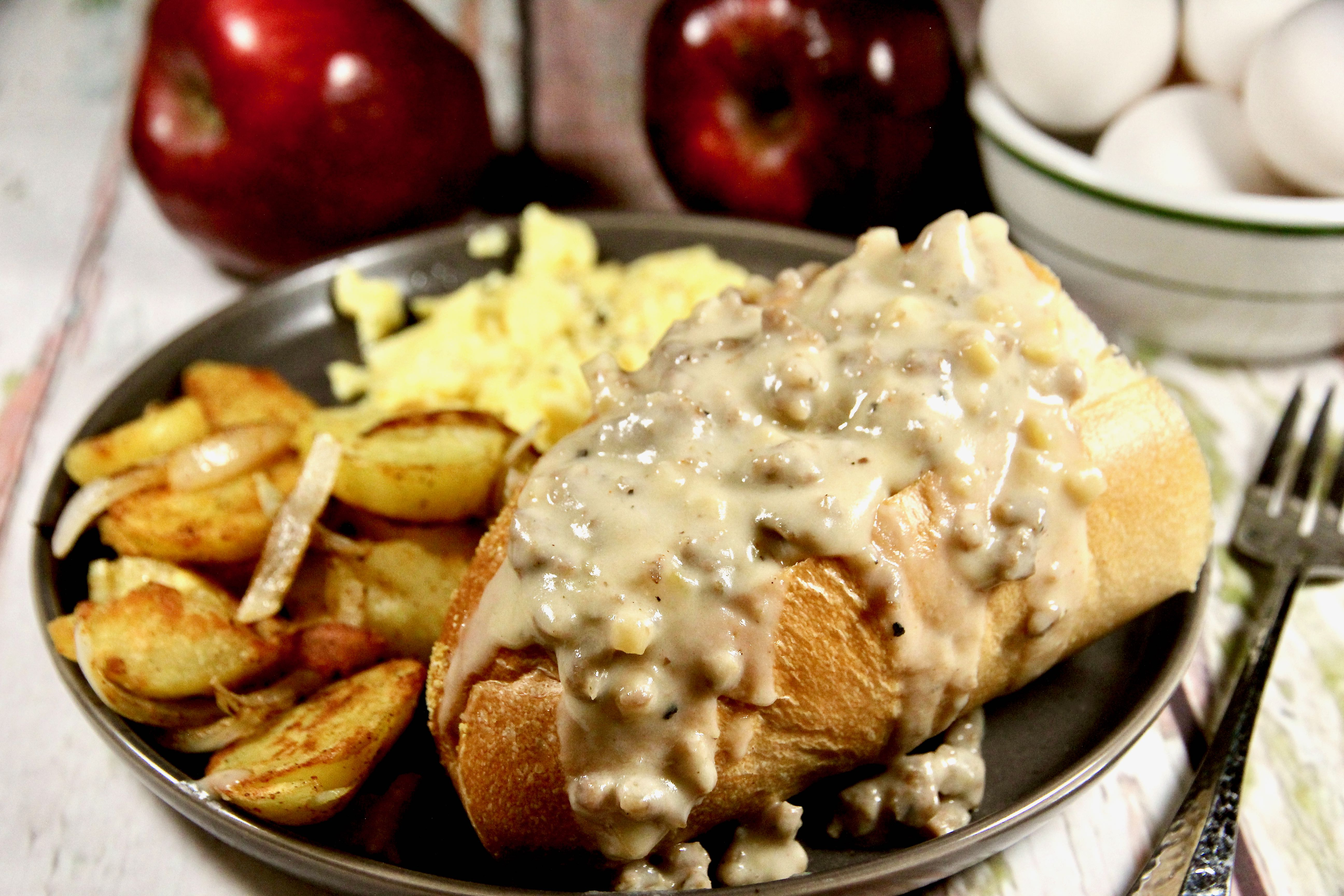 Apple-Sausage Gravy Boats lutzflcat
