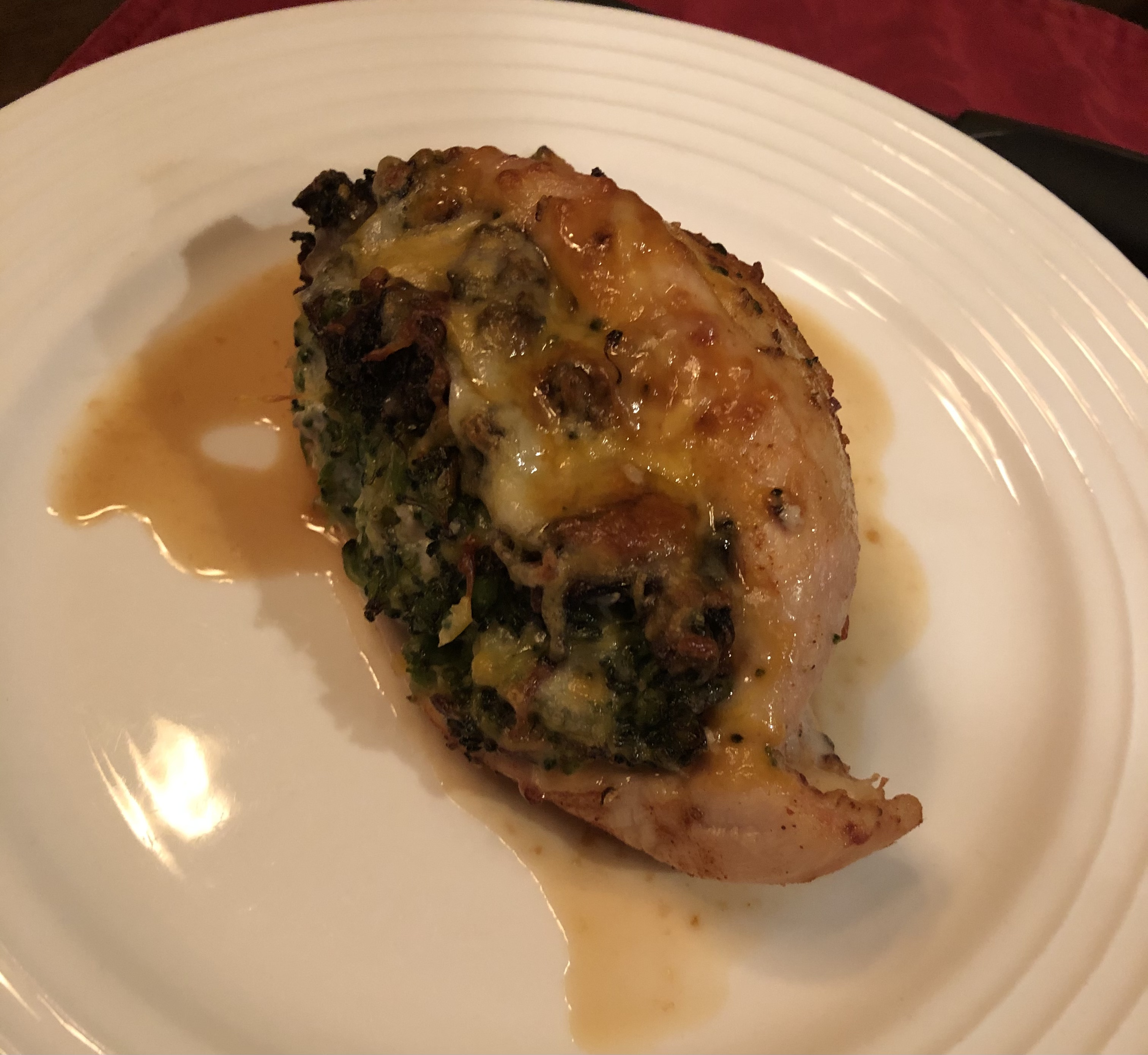 Mushroom, Broccoli, and Cheese Stuffed Chicken