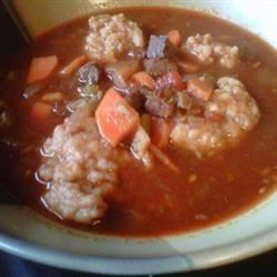 Beef and Wine Soup with Dumplings