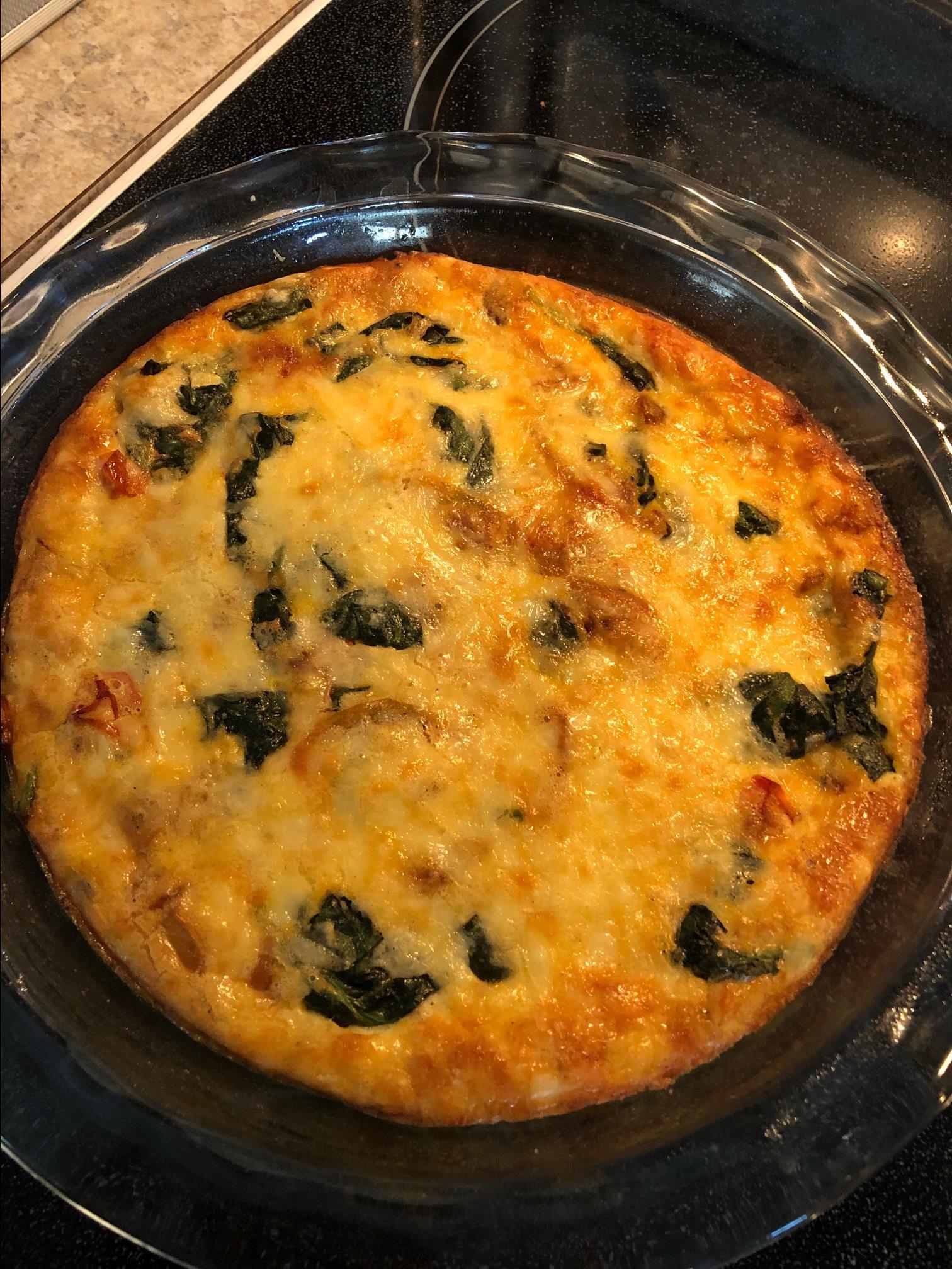 Crustless Spinach, Mushroom, and Tomato Quiche (Keto)