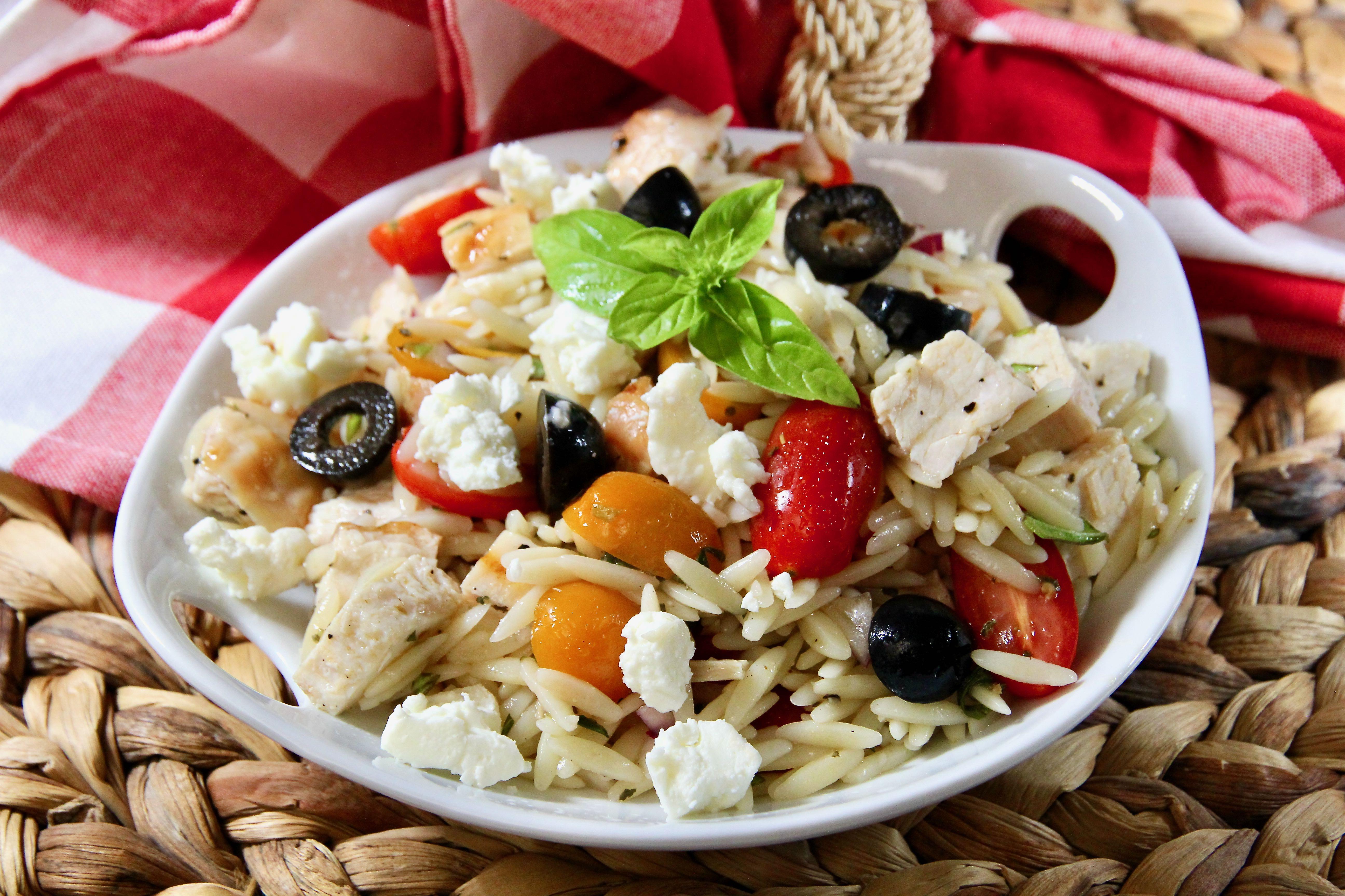 Speedy Chicken, Feta, and Orzo Salad